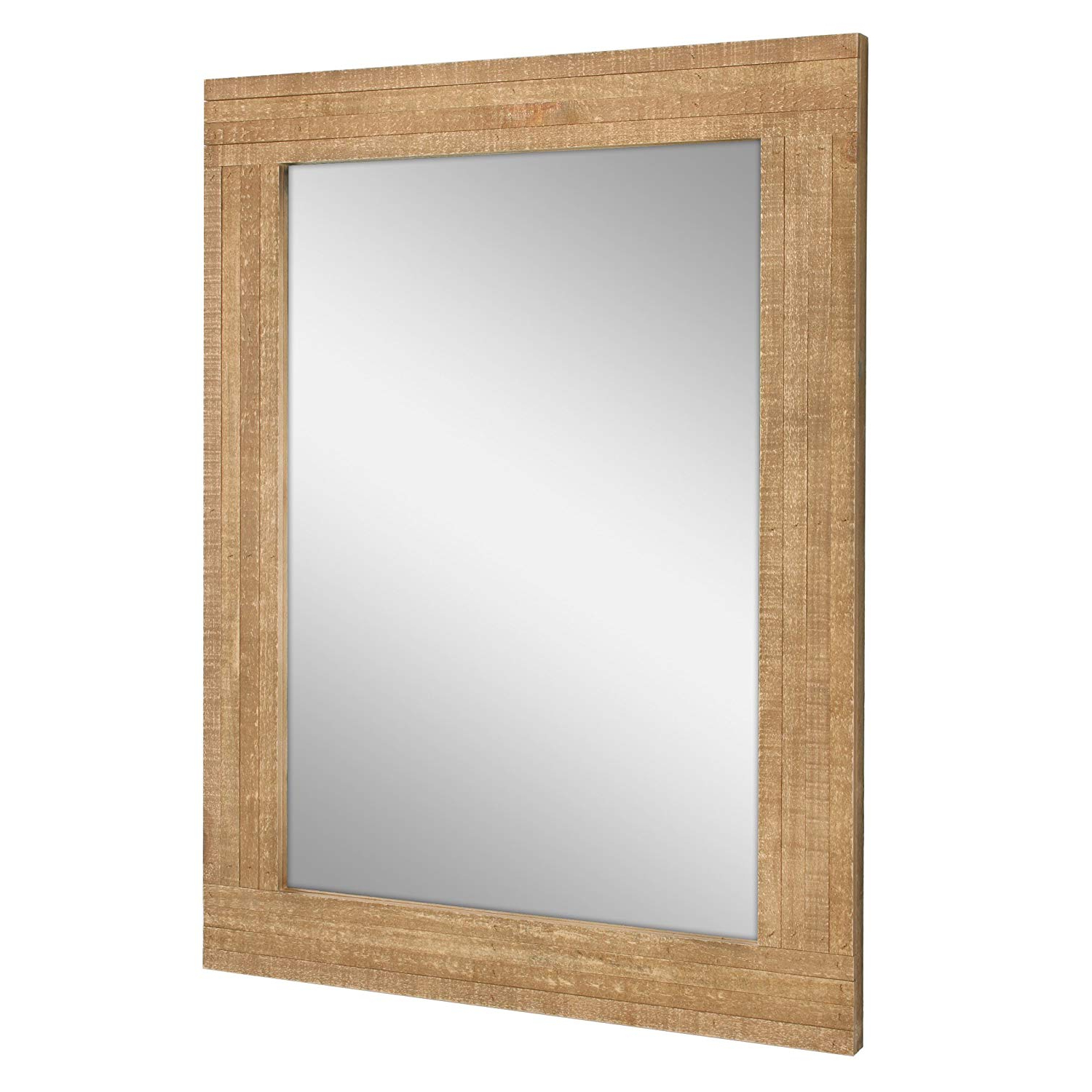 Stonebriar Rustic Rectangular Natural Wood Frame Hanging Wall Mirror,  Farmhouse Decor For The Living Room, Bedroom, Bathroom, Office, And Entryway Regarding Trendy Hanging Wall Mirrors For Bathroom (Gallery 3 of 20)