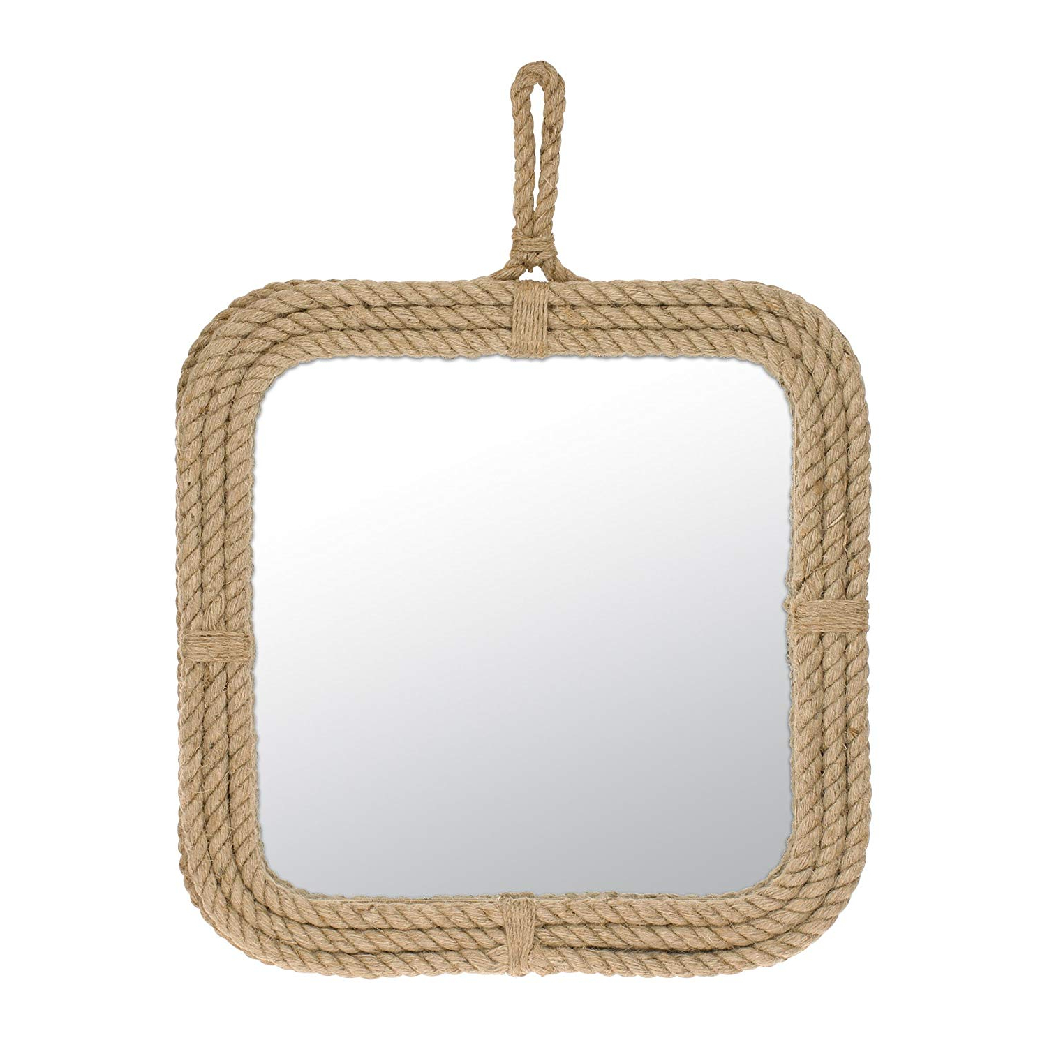 Stonebriar Small Square Rope Mirror For Wall, Light Weight, Rustic Decoration Inside Newest Lightweight Wall Mirrors (View 6 of 20)