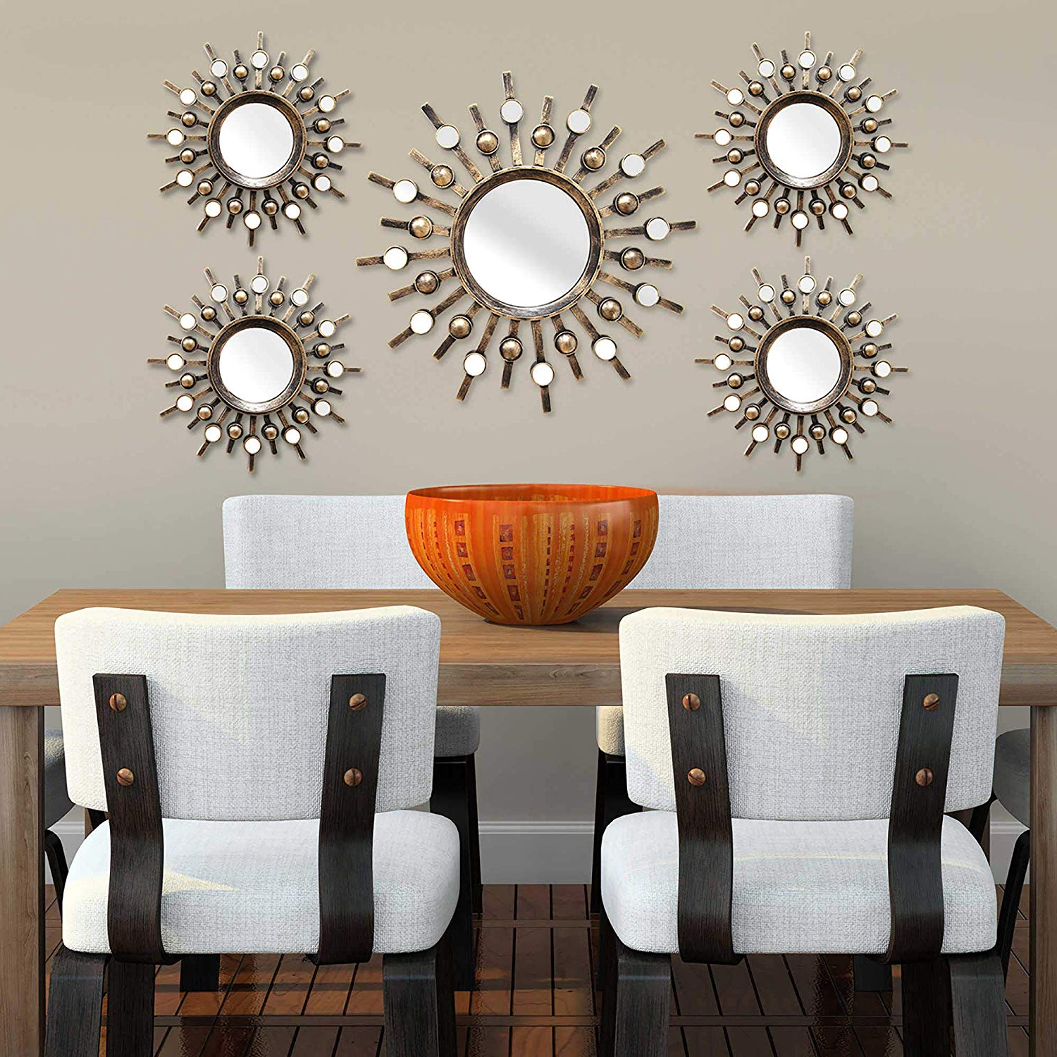 Stratton Home Decor Burst Bronze Wall Mirrors Set Of 5, Shd0087 Pertaining To Current Deco Wall Mirrors (View 19 of 20)