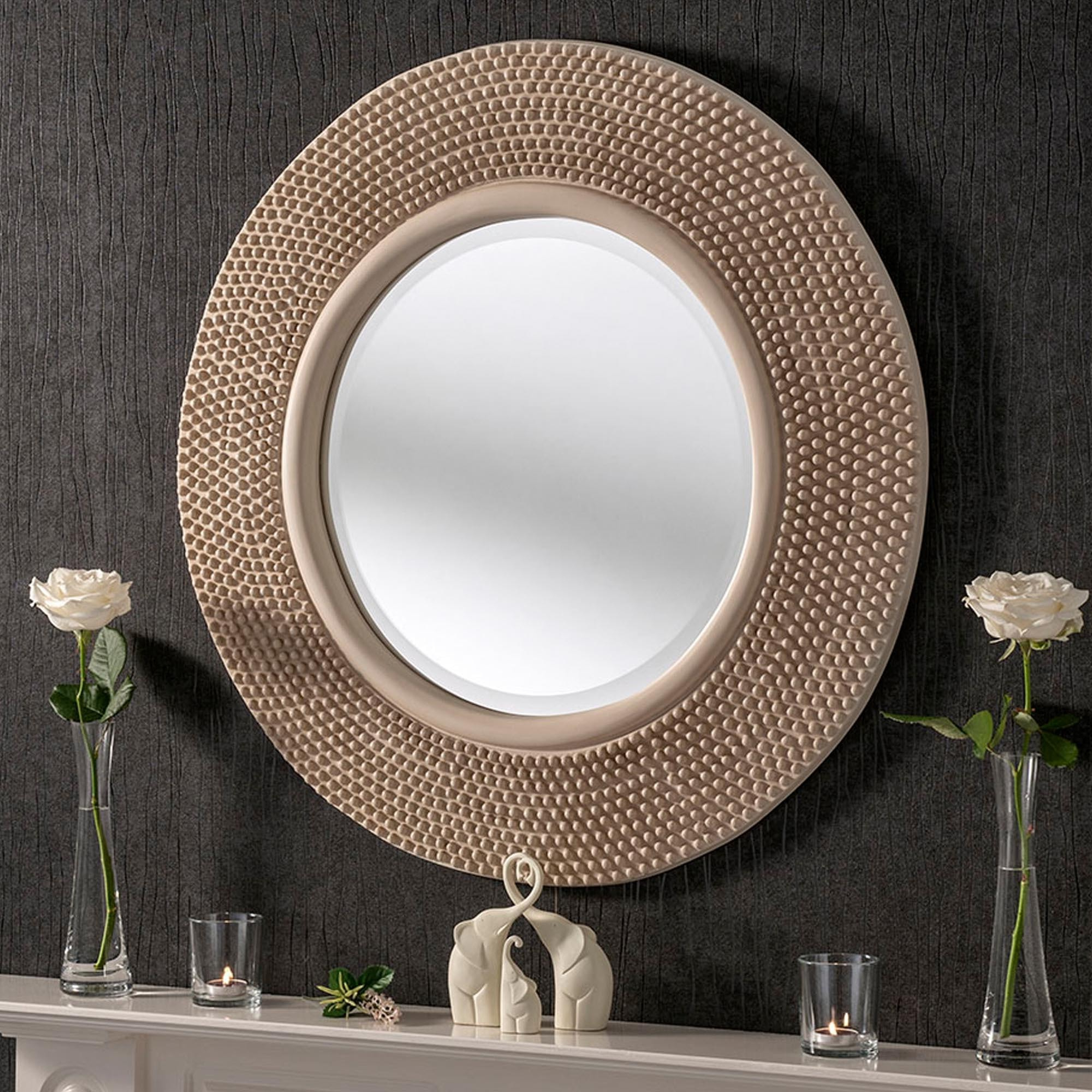 Studded Wall Mirrors Intended For Most Recently Released Circular Contemporary Ivory Studded Wall Mirror (View 13 of 20)