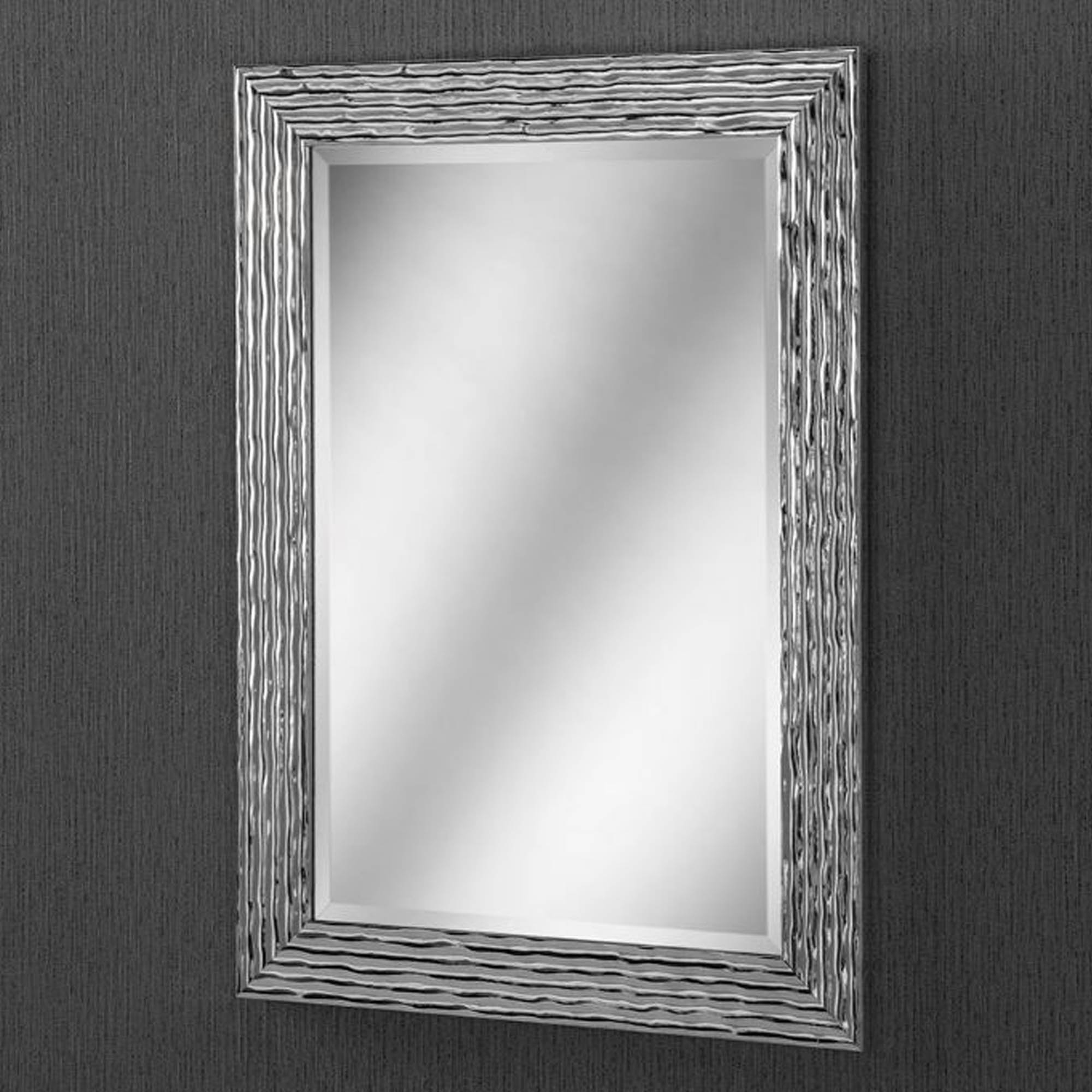 Stunning Wall Mirrors With Best And Newest Chrome Silver Textured Wall Mirror (Gallery 12 of 20)