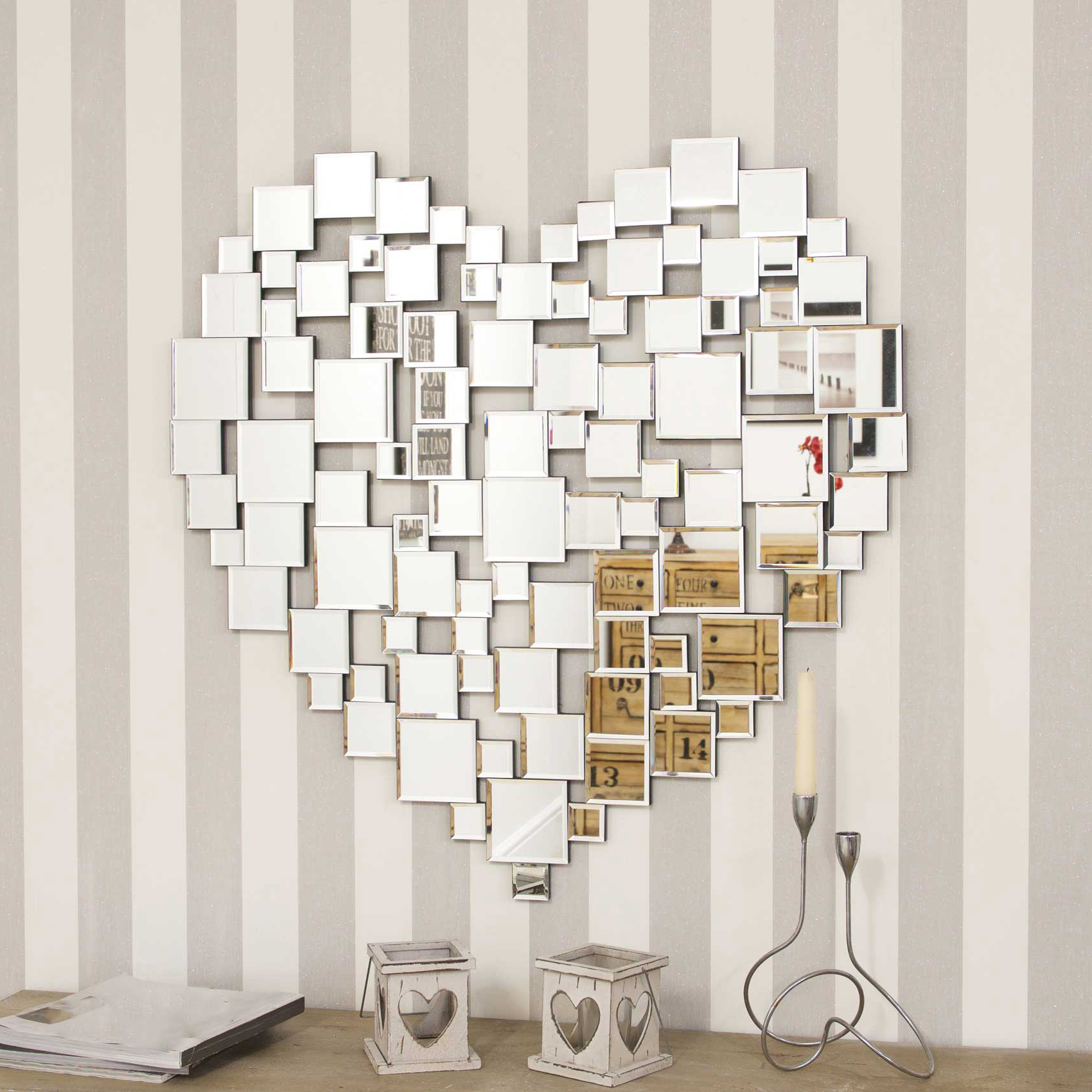 Stunning Wall Mirrors With Famous Details About Stunning All Mirror Glass Heart Wall Mirror 80Cm X 80Cm (View 16 of 20)
