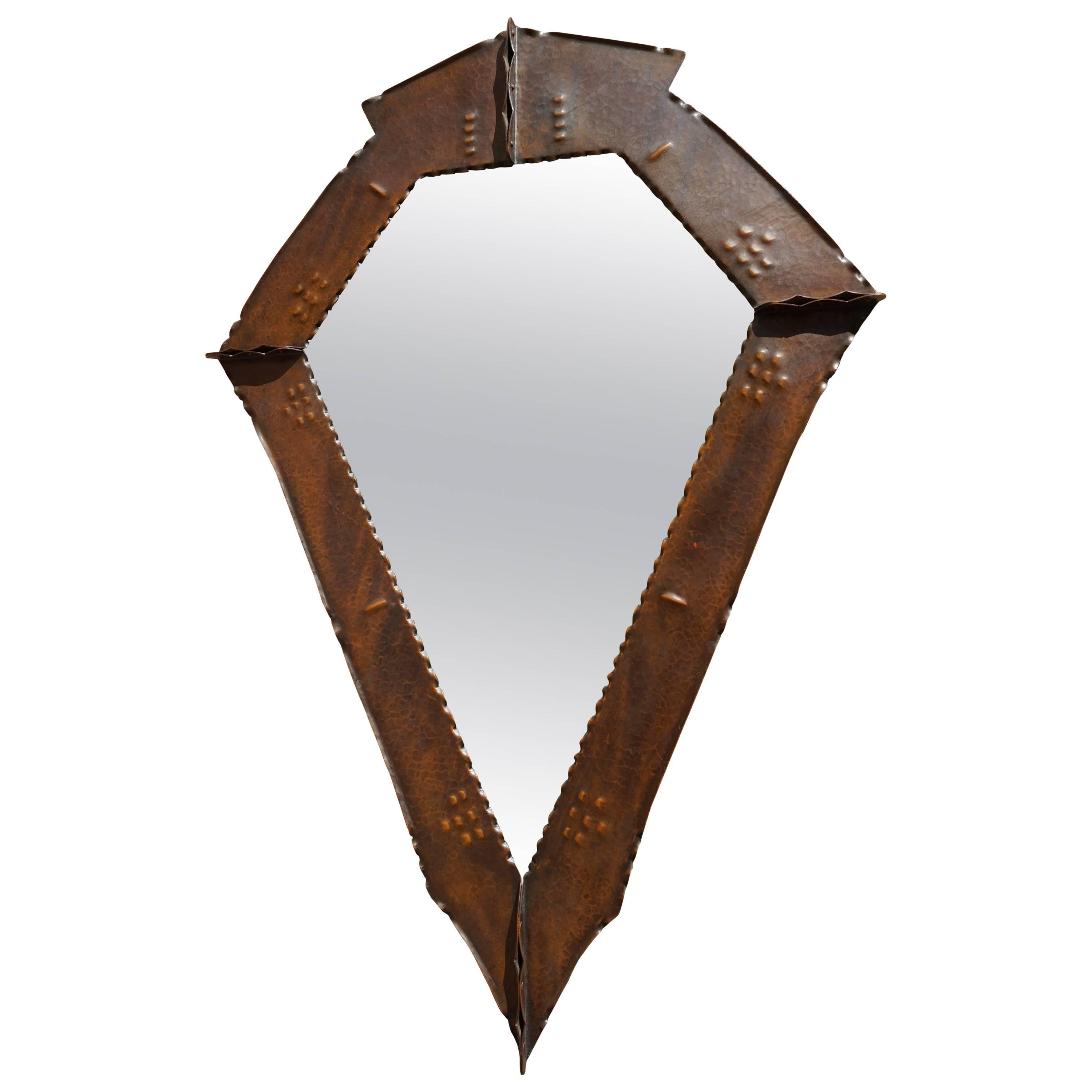 Stunningly Handcrafted Copper Arts & Crafts Wall Mirror, Early 20th Century For Fashionable Copper Wall Mirrors (View 8 of 20)