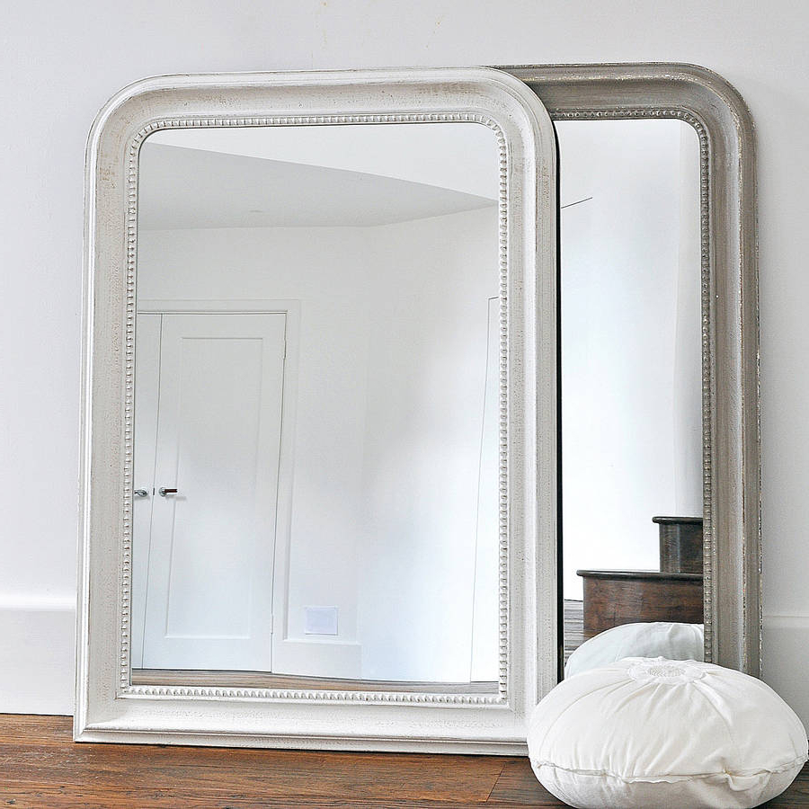 Stylish Wall Mirrors Throughout Newest Beaded Wall Mirror White Or Grey (Gallery 14 of 20)
