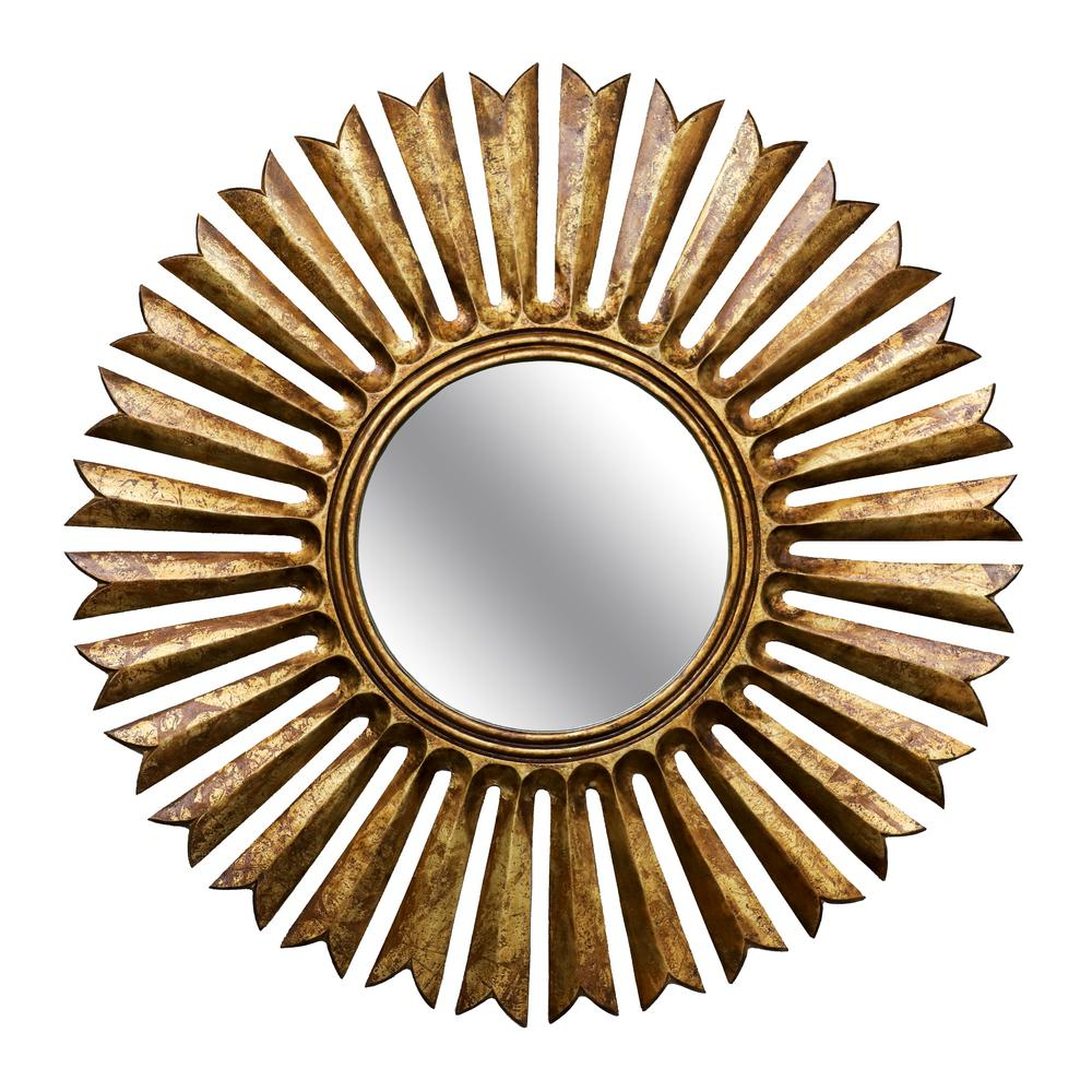 Sun Ray Wall Mirrors Intended For Current Sunray Round Sunburst Antique Gold Wall Mirror (View 9 of 20)