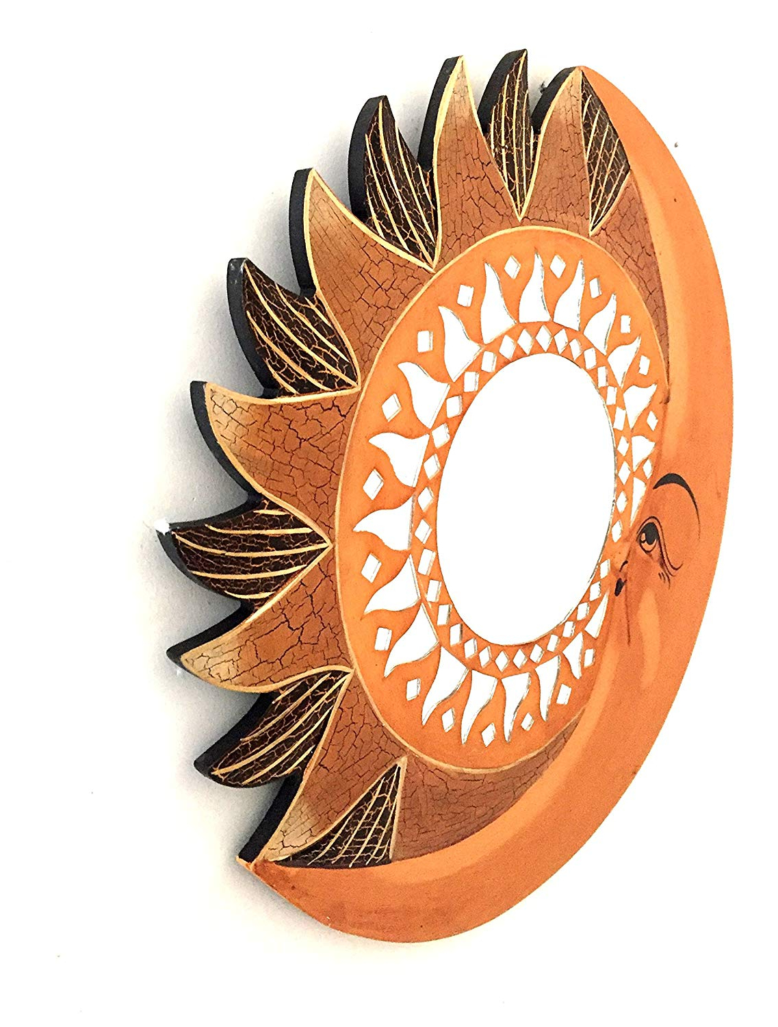 Sun Shaped Wall Mirror Brown Mirrror, Celestial Sun Moon Wall Decor Mosaic   Handmade – Oma Brand Pertaining To Best And Newest Sun Shaped Wall Mirrors (View 17 of 20)
