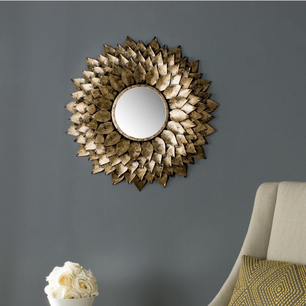 Sunburst Accent Mirror Intended For Well Liked Harbert Modern And Contemporary Distressed Accent Mirrors (View 12 of 20)