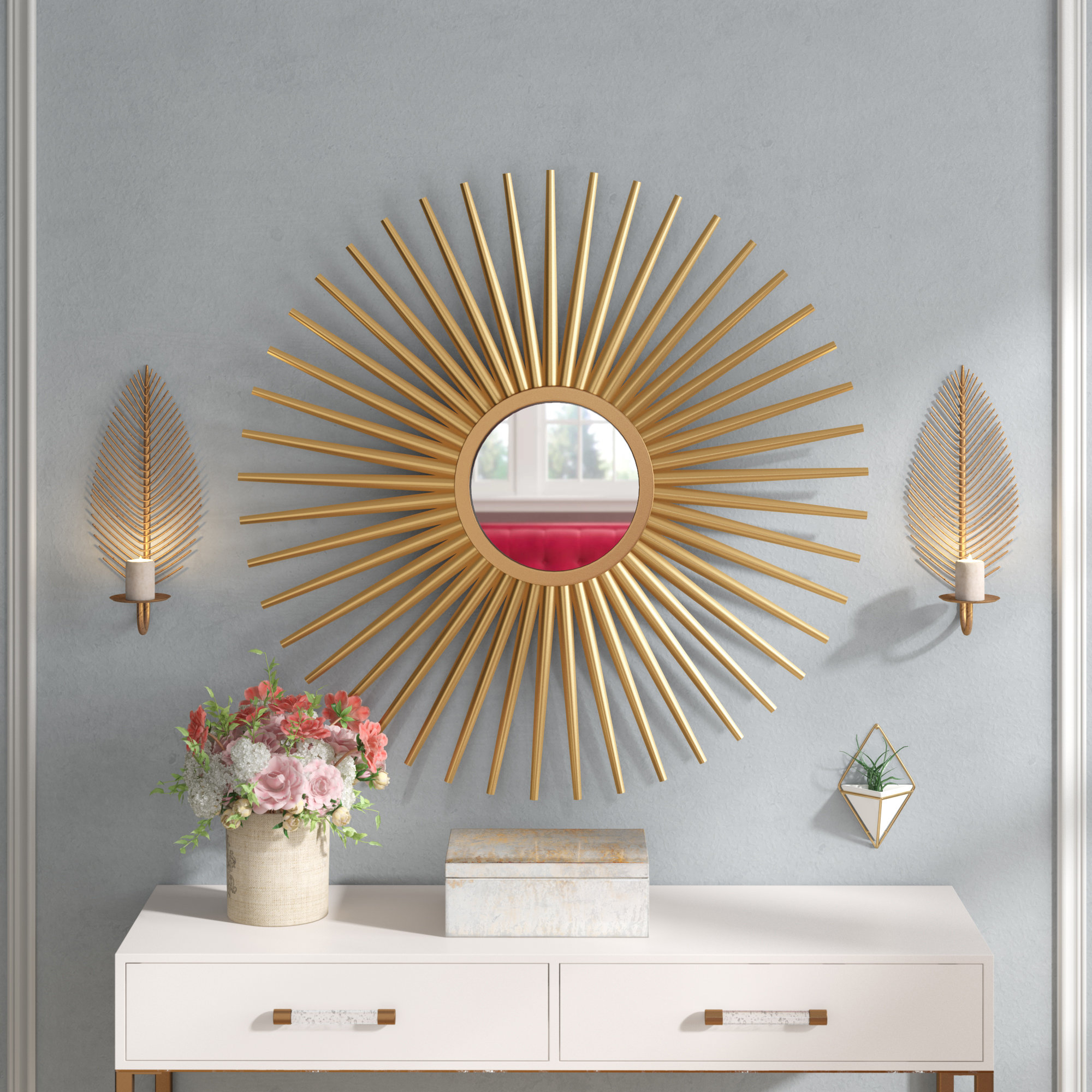 Sunburst Wall Mirror Inside Favorite Large Sunburst Wall Mirrors (View 13 of 20)