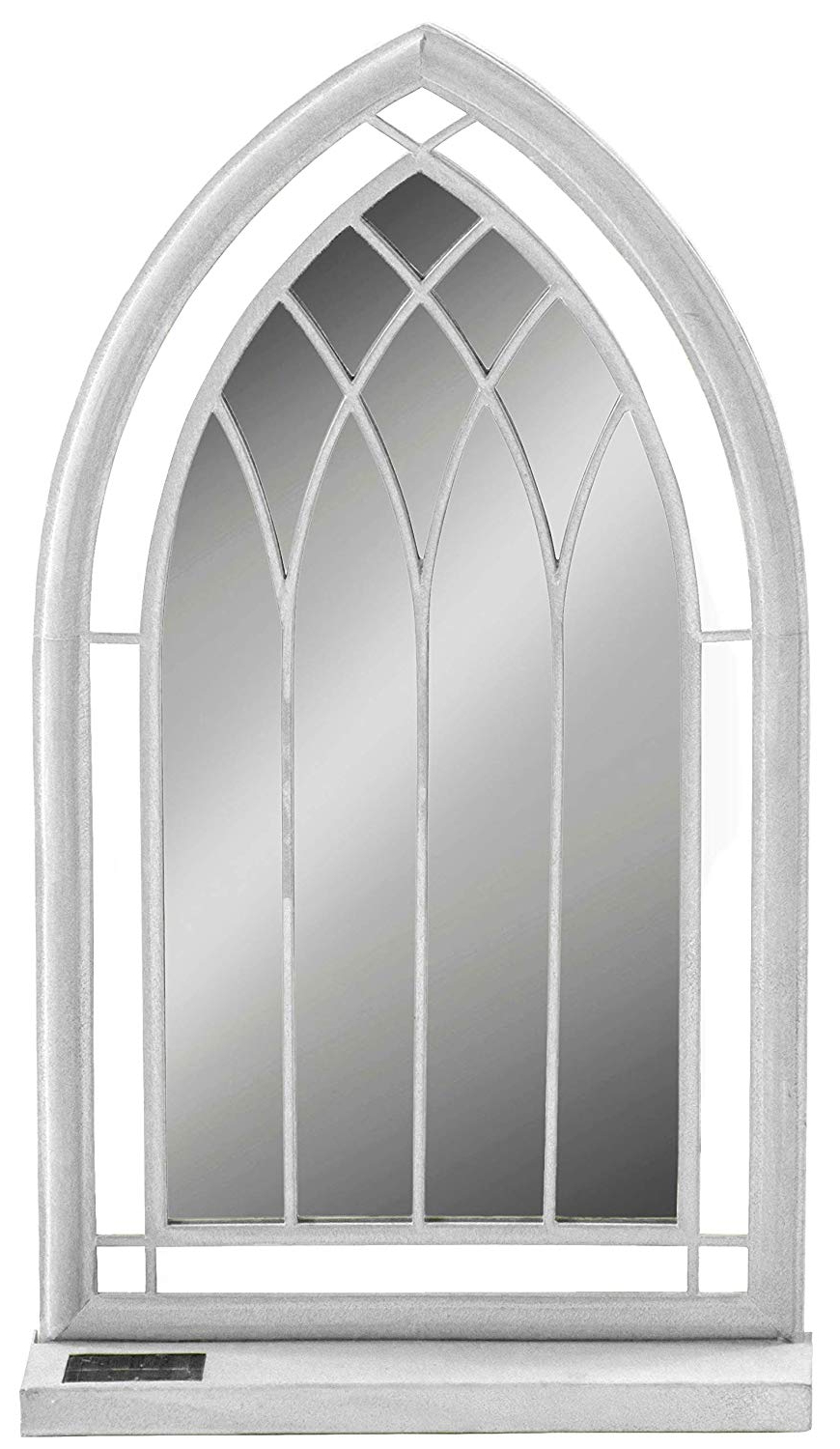 Suntime Church Style Outdoor Metal Vintage Distressed Framed Arched Led Garden Wall Mirror Intended For Most Recently Released Outdoor Garden Wall Mirrors (View 14 of 20)