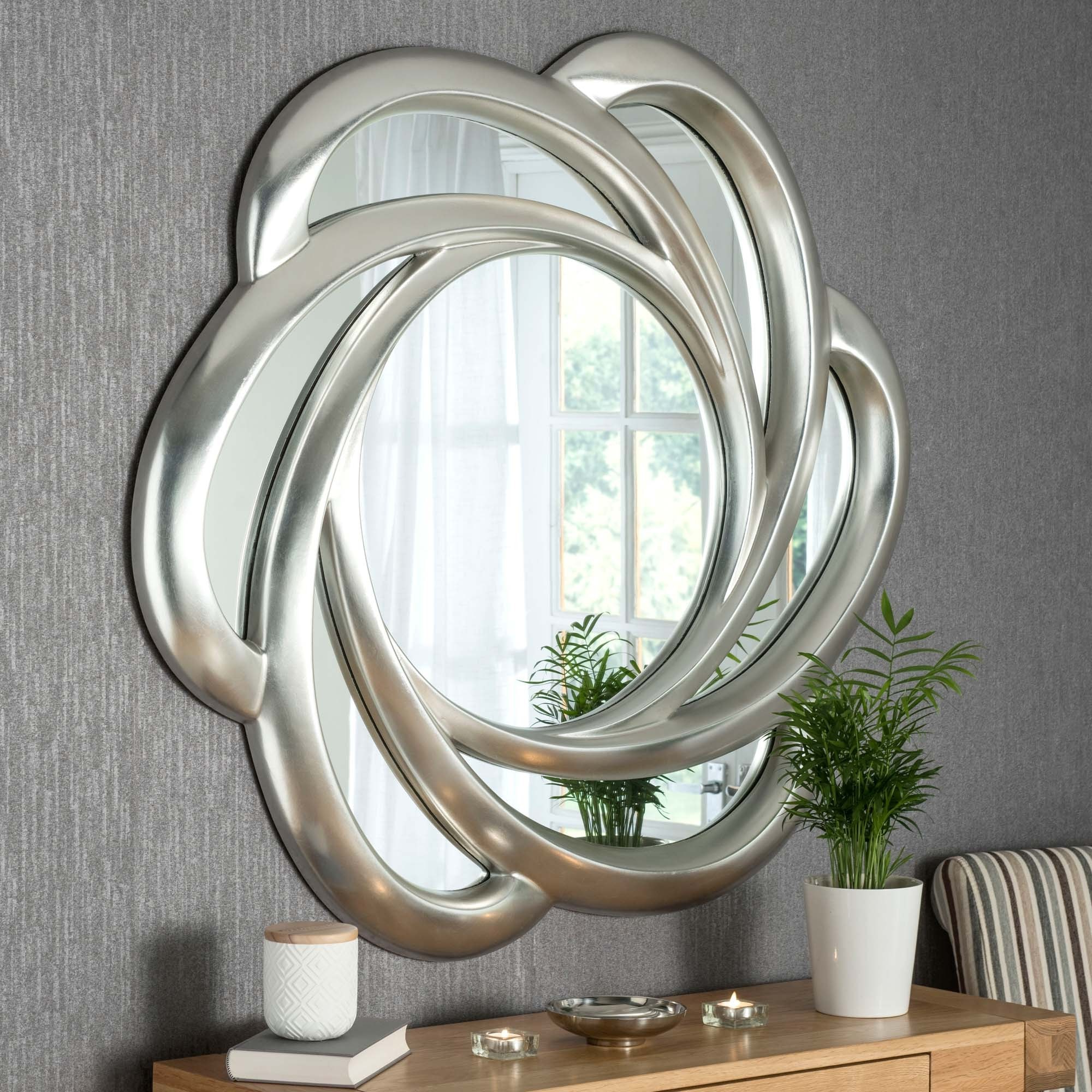 Swirl Wall Mirrors Inside Well Known Contemporary Silver Swirl Wall Mirror (Gallery 3 of 20)