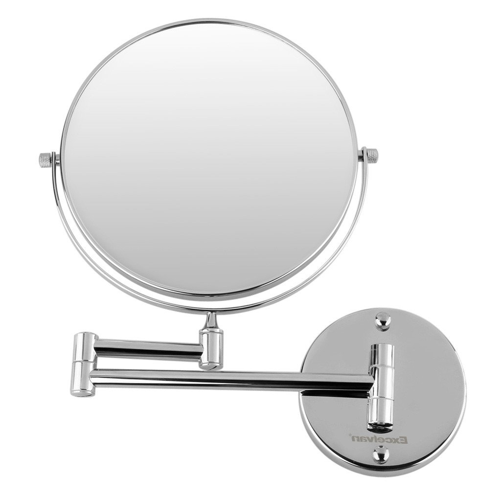Swivel Wall Mirrors Pertaining To Well Known Excelvan Magnification 8 Inch Double Sided Swivel Wall Mount Makeup Mirror (10x) (View 4 of 20)