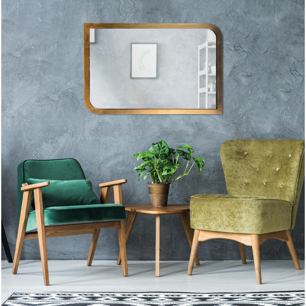 Swoop Rectangular Brass Wall Mirror With Regard To 2020 Mid Century Modern Wall Mirrors (View 13 of 20)