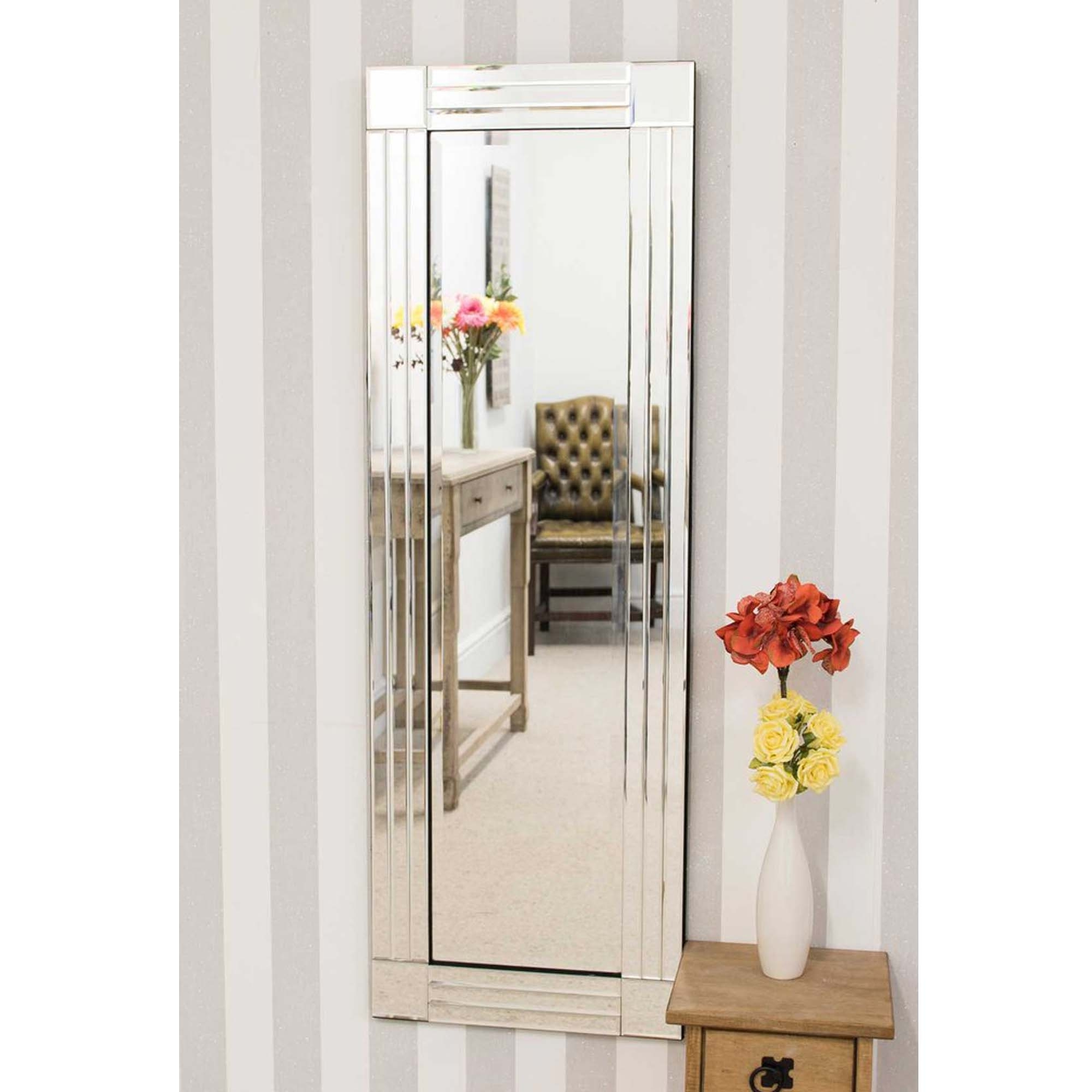 Tall Thin Venetian Frameless Wall Mirror With Regard To Favorite Tall Narrow Wall Mirrors (View 18 of 20)