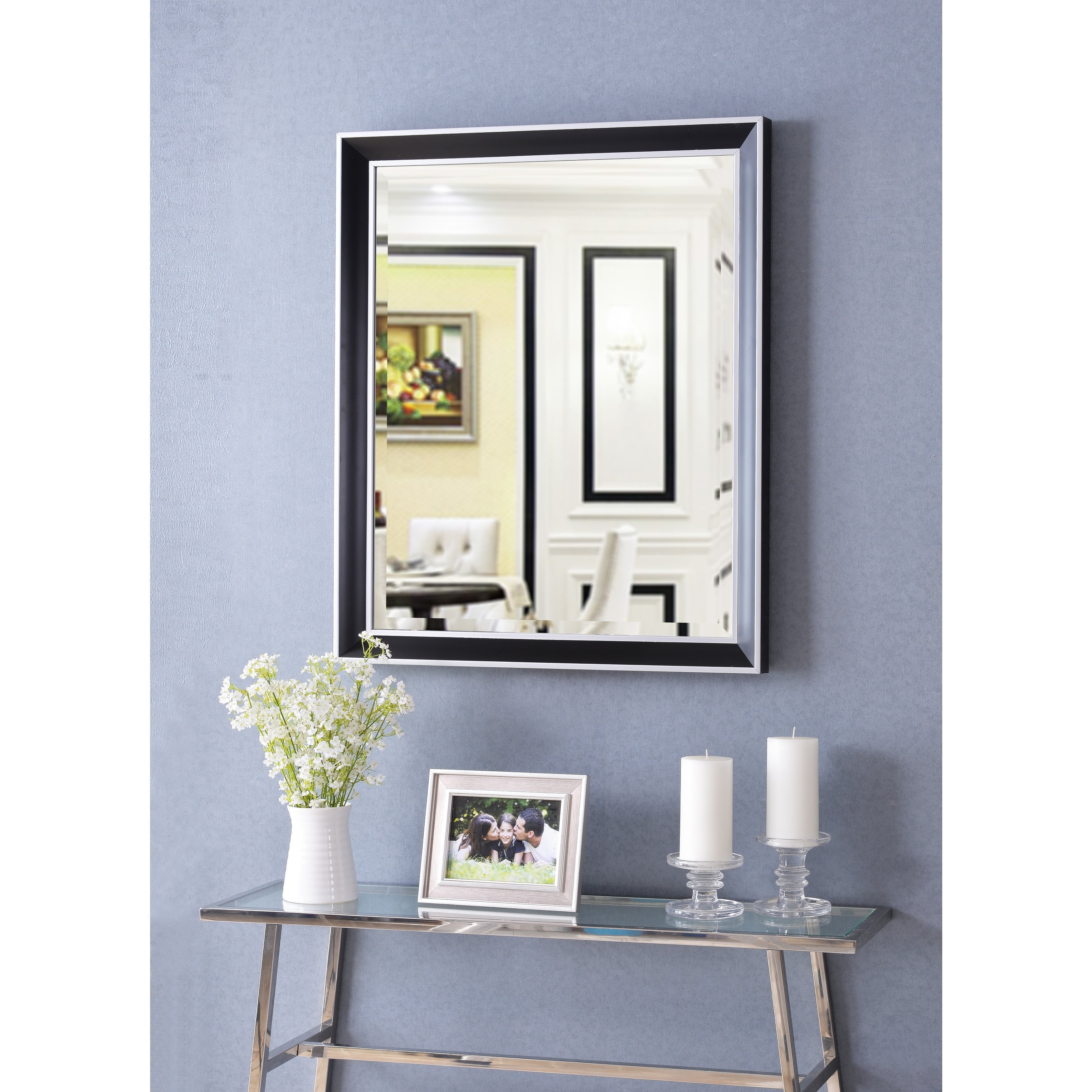 """Tanner 32"""" Wall Mirror – Black With Polished Silver For 2020 Tanner Accent Mirrors (View 9 of 20)"""