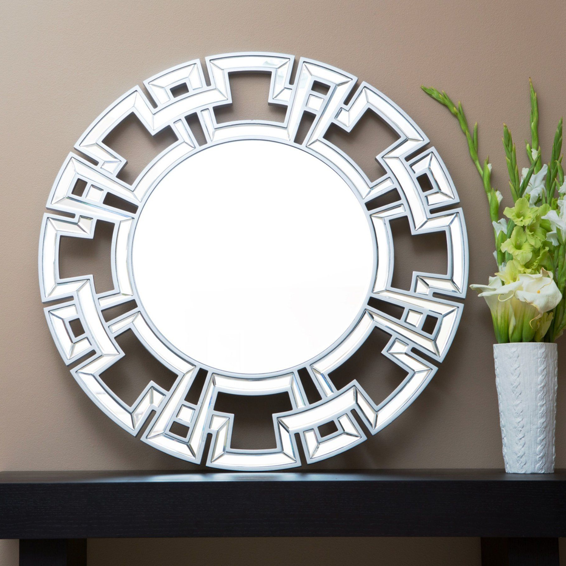 Tata Openwork Round Wall Mirrors For Best And Newest Abbyson Living Shiloh Round Wall Mirror – Tm Gc 8214 Mir Sil (View 14 of 20)