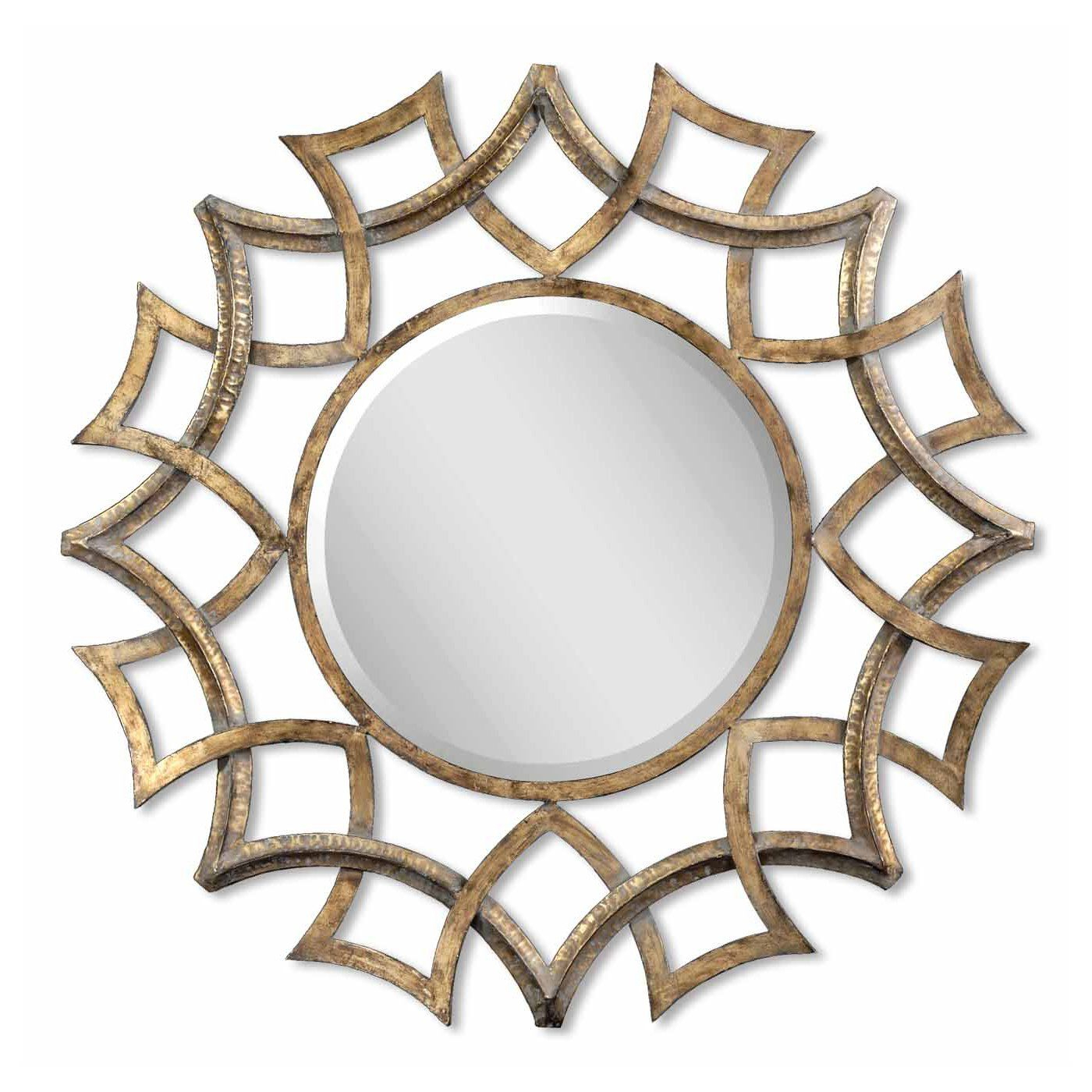 Tata Openwork Round Wall Mirrors For Most Popular Uttermost 12730 B Demarco Round Decorative Mirror, Antique Gold (View 15 of 20)