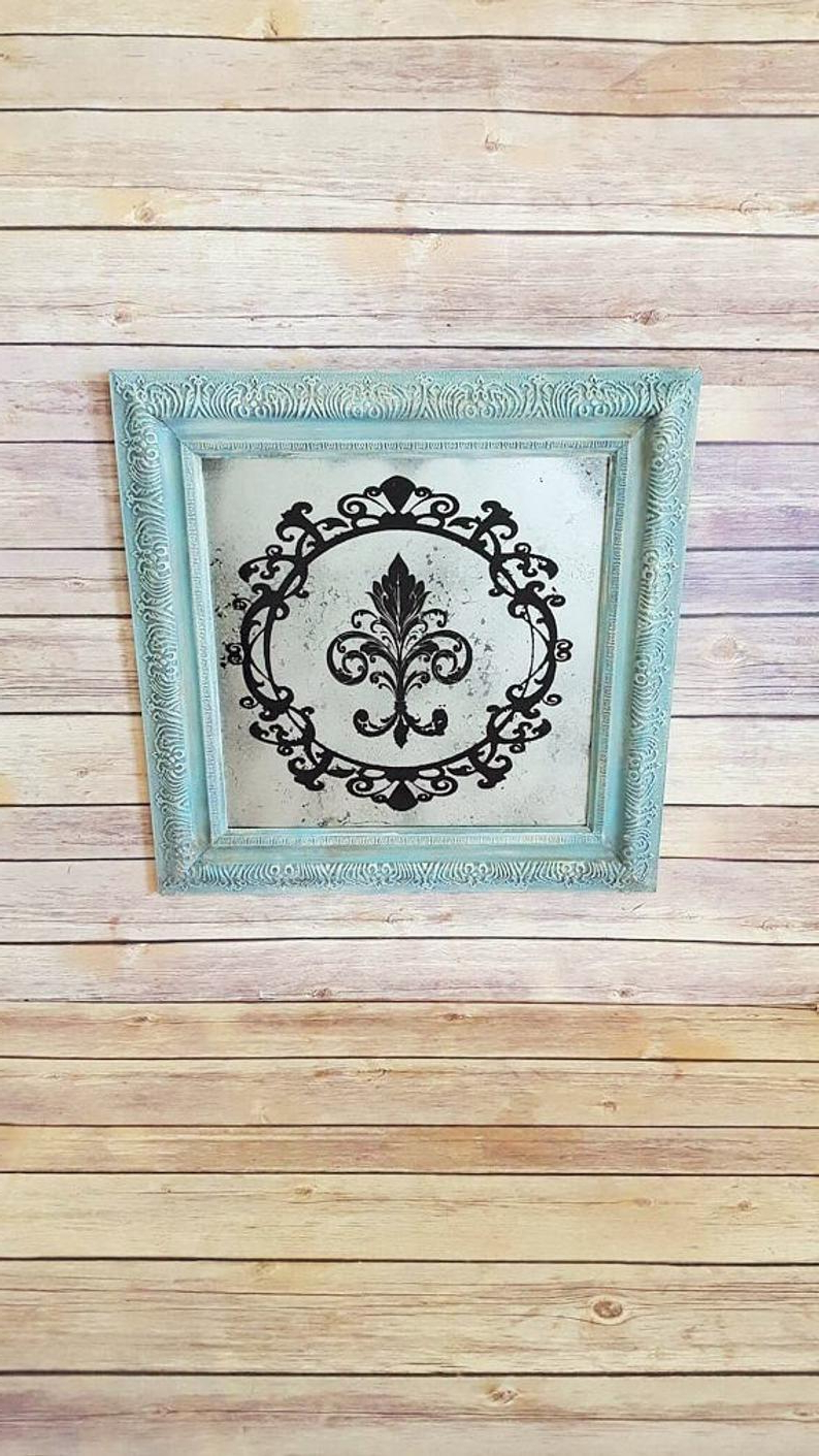 Teal Ornate Framed Mirror (View 18 of 20)
