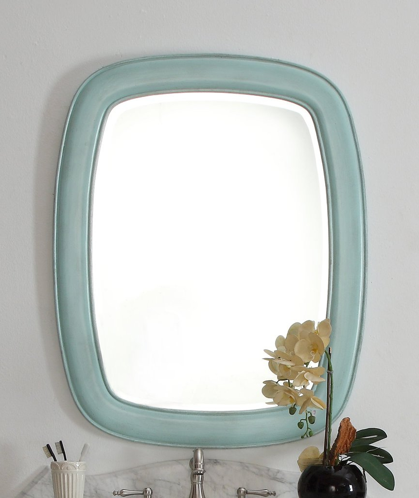 Termoli 36 Inch Light Blue Frame Modern Style Wall Mirror 1033bu Mir Intended For Preferred Blue Wall Mirrors (View 18 of 20)
