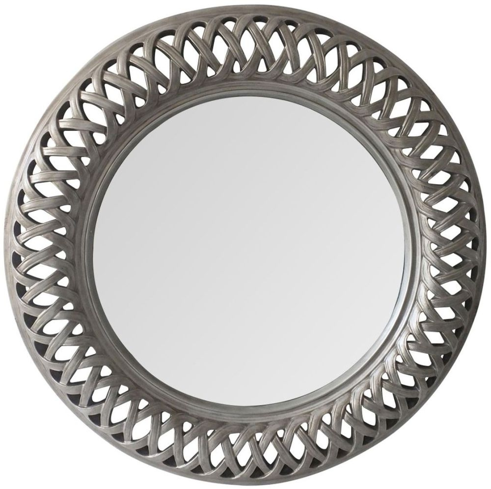 Tessere Antique Silver Round Wall Mirror – 112Cm X 112Cm With Regard To Most Current Silver Round Wall Mirrors (View 16 of 20)