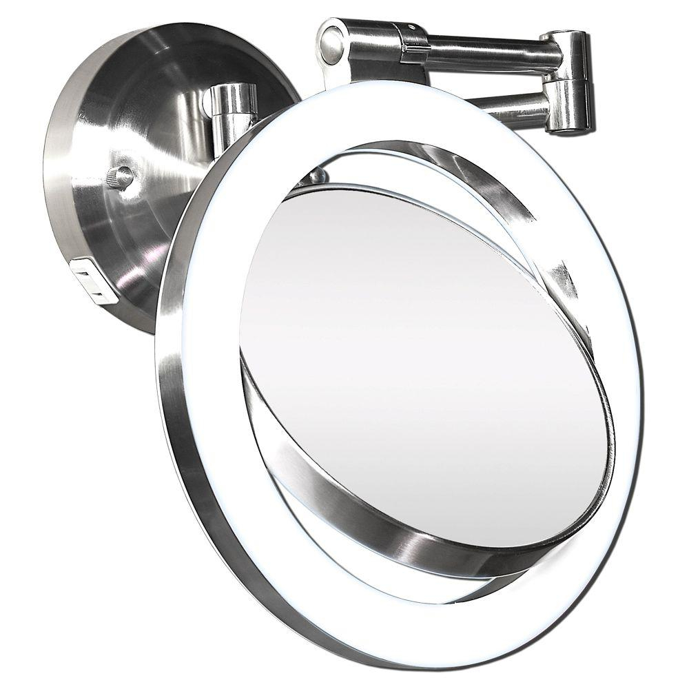 This Wall Mount Bathroom Mirror Is Equipped With A Halo Within Most Up To Date Swivel Wall Mirrors (View 18 of 20)