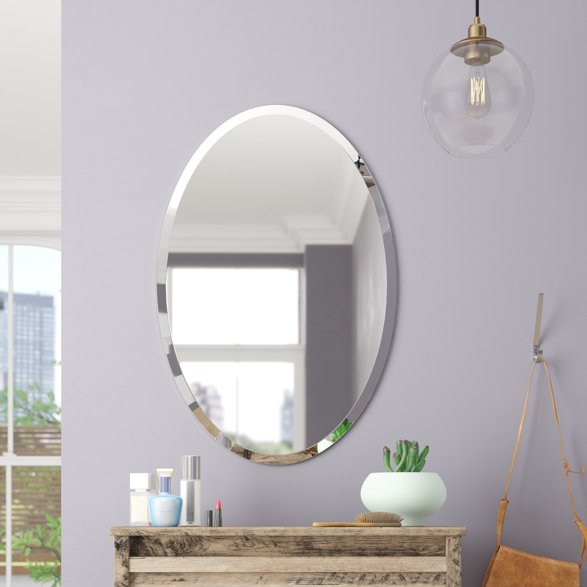 Thornbury Oval Bevel Frameless Wall Mirror Pertaining To 2020 Frameless Beveled Wall Mirrors (View 3 of 20)