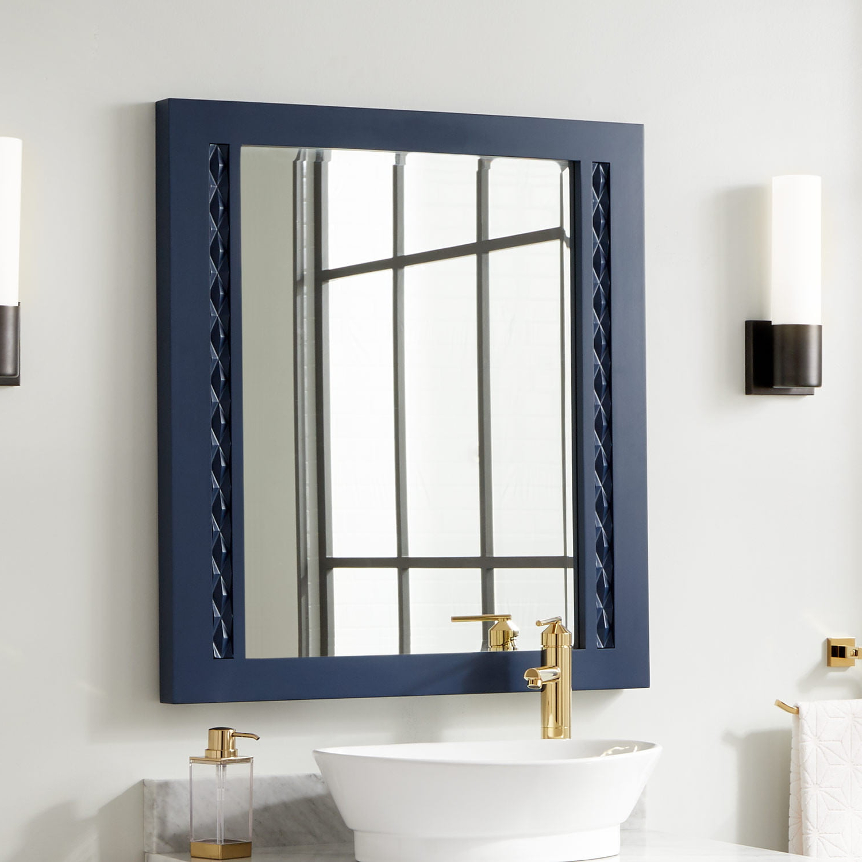 Thorton Mahogany Vanity Mirror – Bright Navy Blue Within 2019 Blue Framed Wall Mirrors (View 13 of 20)