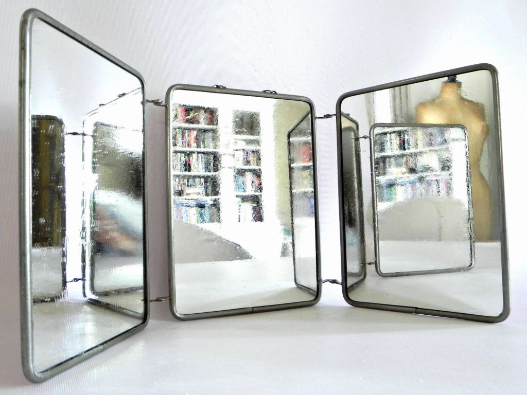 Three Way Wall Mirrors Regarding Well Known Interior: Gorgeous Pattern Poseidon Frame Trifold Mirror For (View 14 of 20)