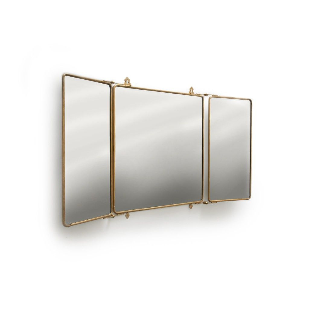 Three Way Wall Mirrors With Regard To Most Current Daphne Metal Rectangular Wall Mounted Trifold Mirror (View 17 of 20)