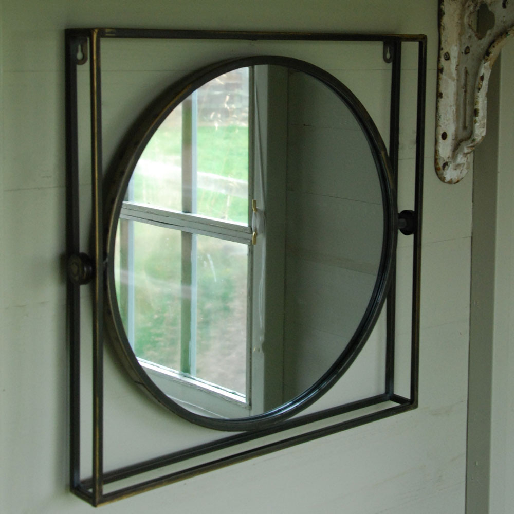 Tilbury Round Metal Mirror Set In Square Frame Intended For Most Recent Square Wall Mirror Sets (View 19 of 20)