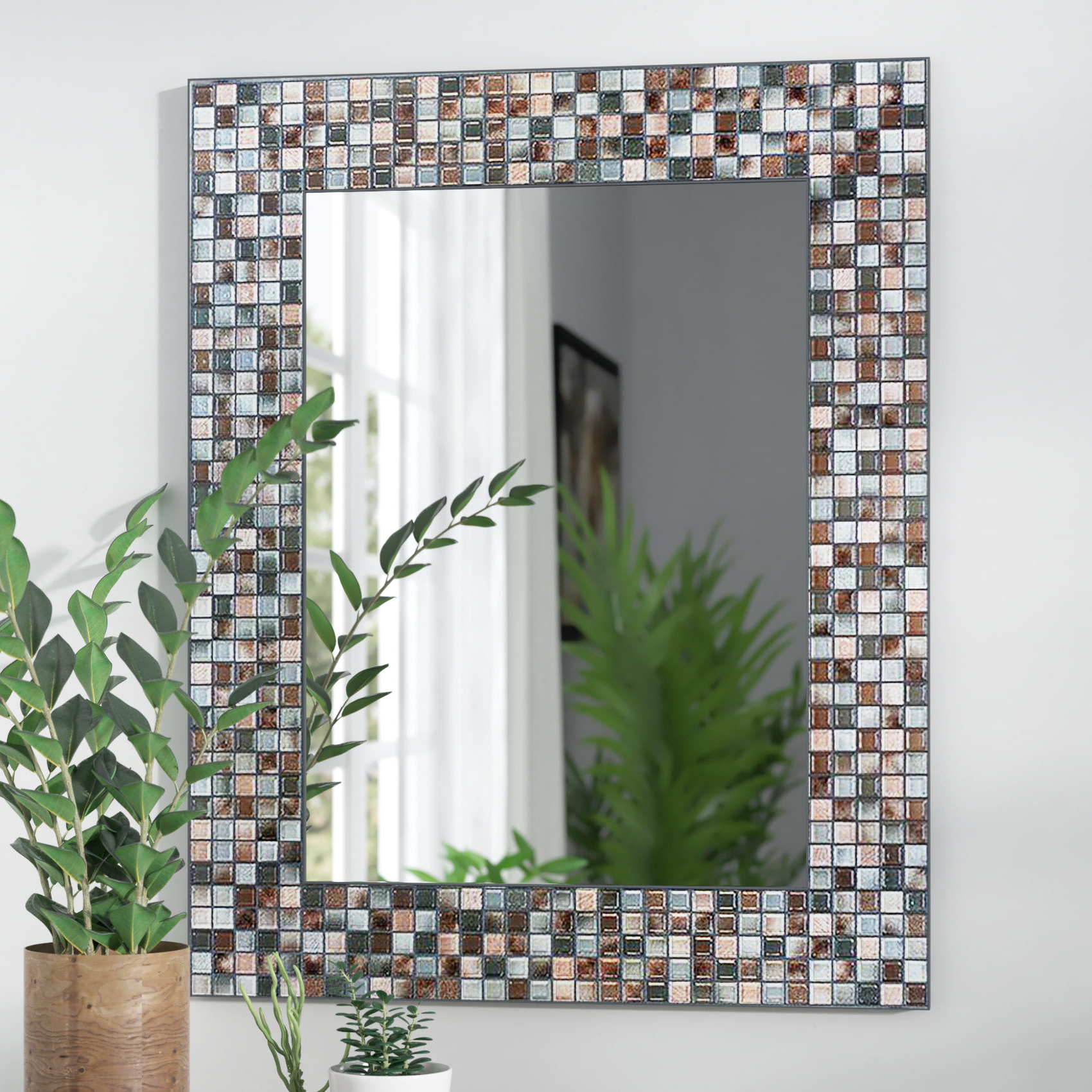 Tillman Mosaic Tile Accent Wall Mirror Inside Trendy Hussain Tile Accent Wall Mirrors (View 3 of 20)