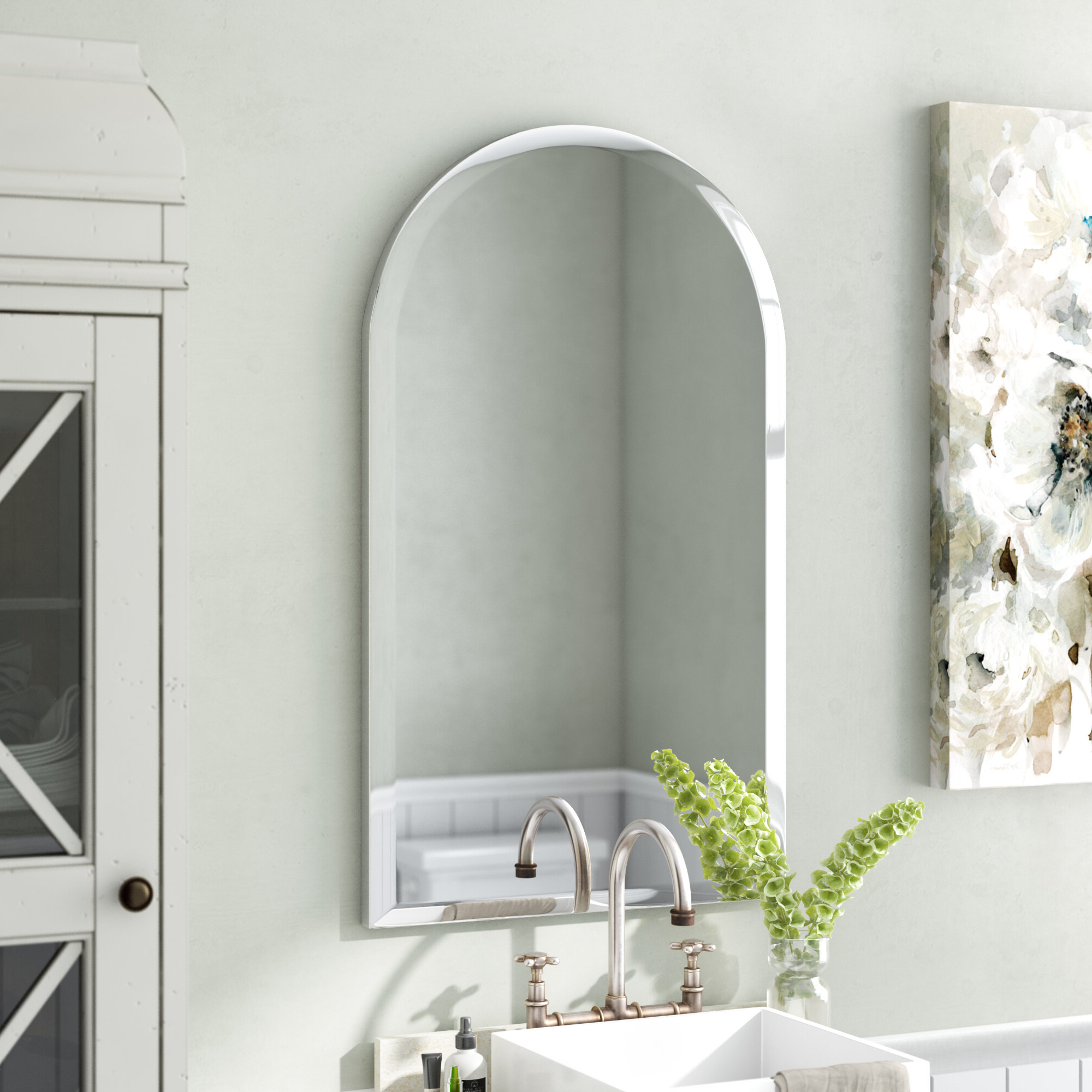 Titcomb Frameless Arched Wall Mirror Within 2020 Thornbury Oval Bevel Frameless Wall Mirrors (View 17 of 20)