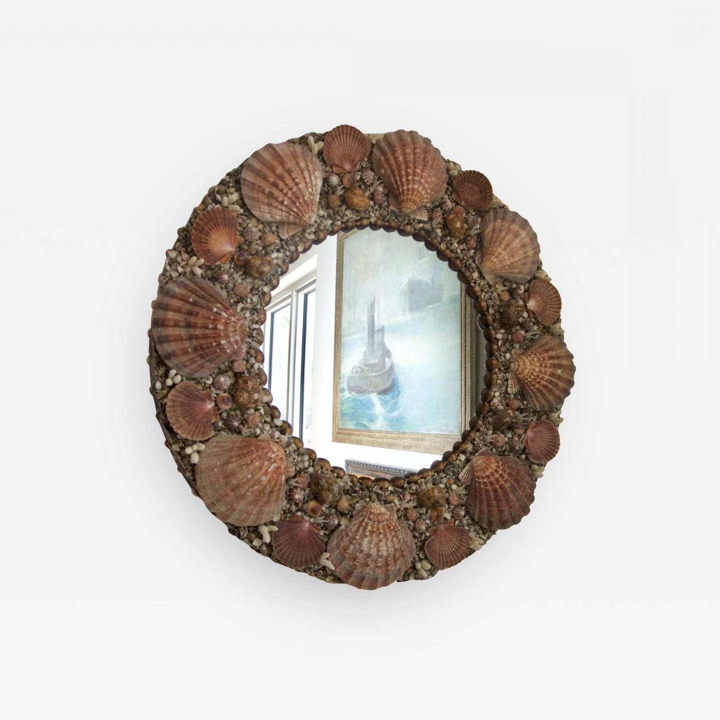 Tony Duquette – Round Seashell Encrusted Wall Mirror With Regard To Most Recently Released Seashell Wall Mirrors (View 17 of 20)