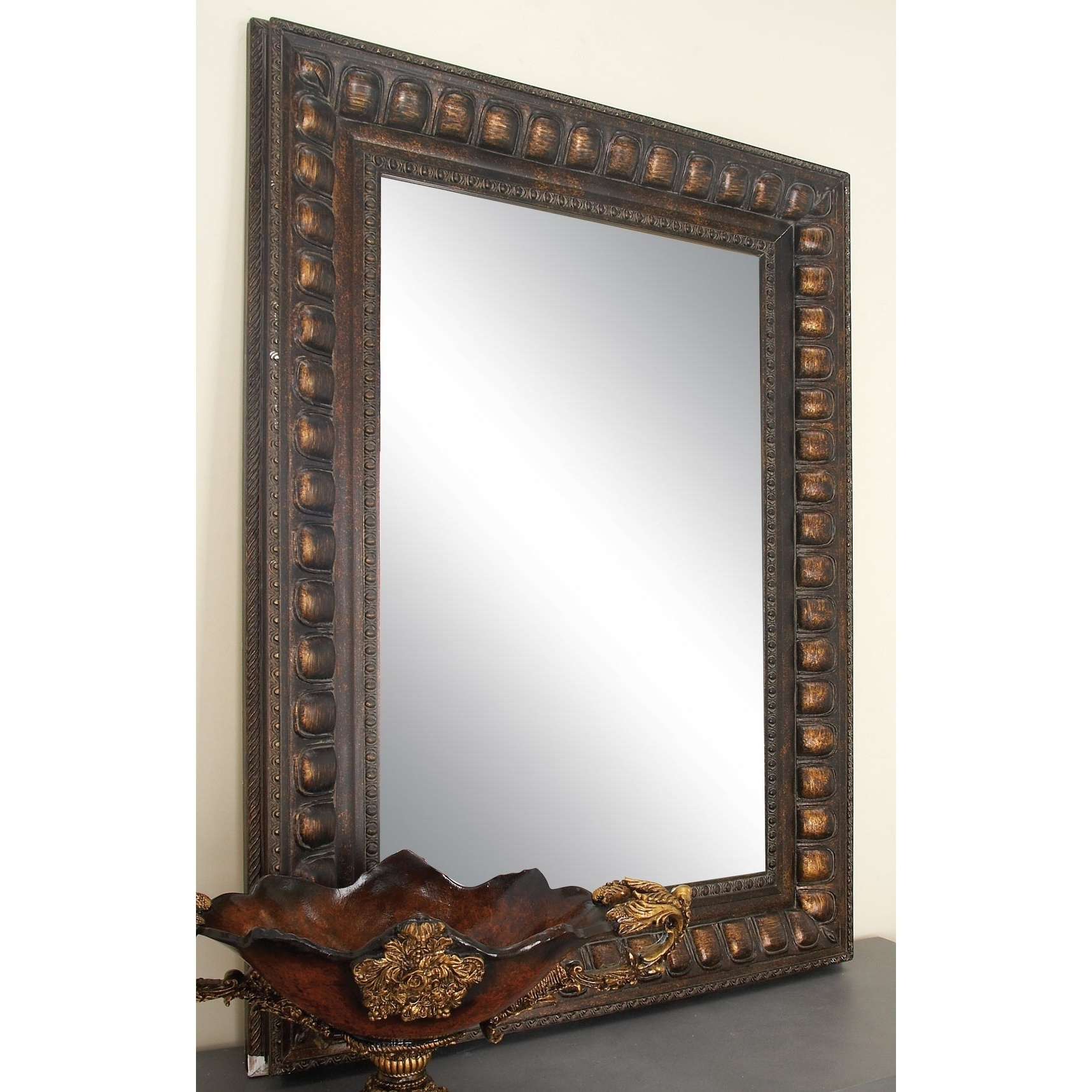 Traditional Beveled Wall Mirrors With Regard To Best And Newest Traditional 48 X 36 Inch Brown Wood Beveled Wall Mirrorstudio 350 – N/a (View 17 of 20)