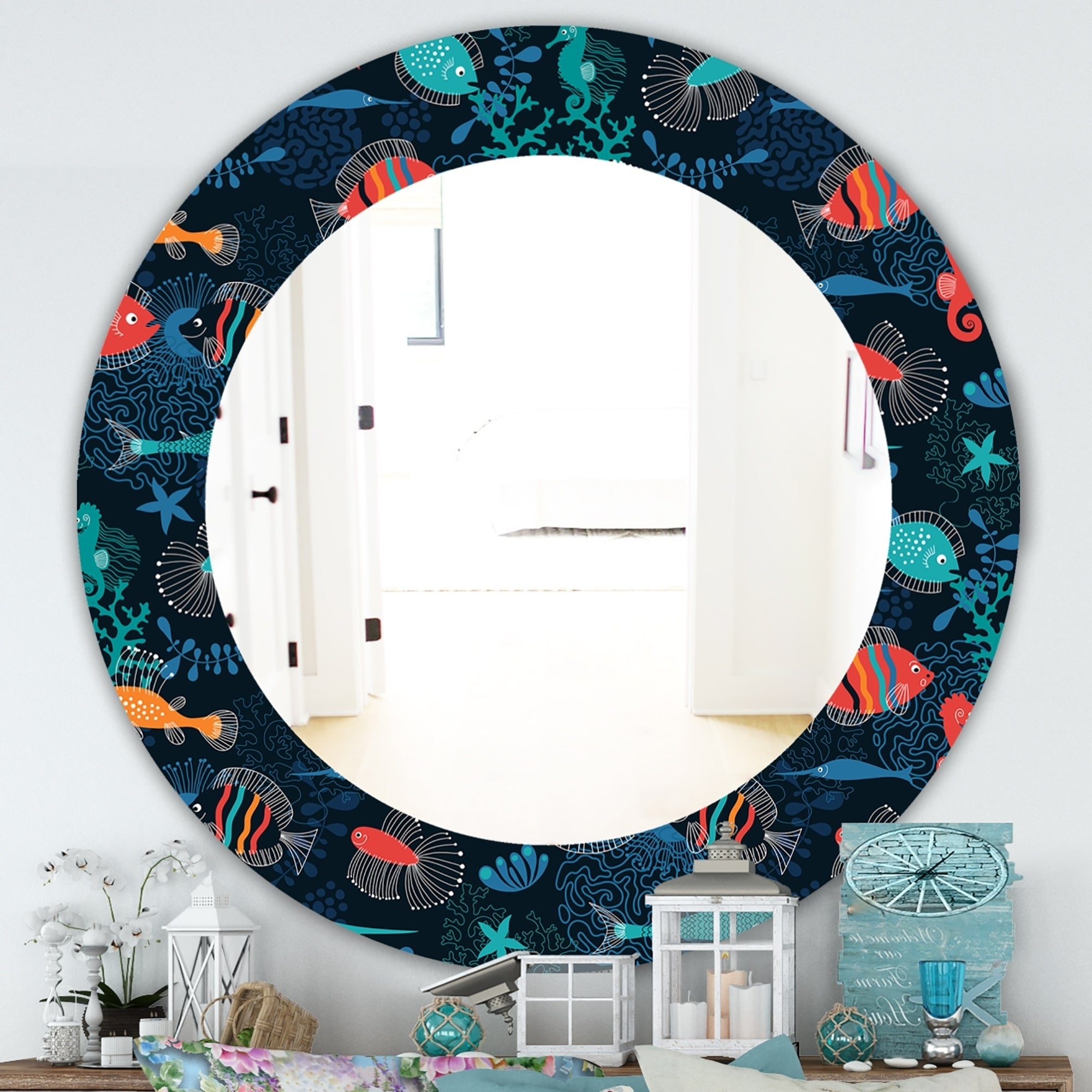 Traditional/coastal Accent Mirrors Pertaining To 2020 Designart 'costal Creatures 2' Traditional Mirror – Frameless Oval Or Round Wall Mirror – Blue (View 7 of 20)