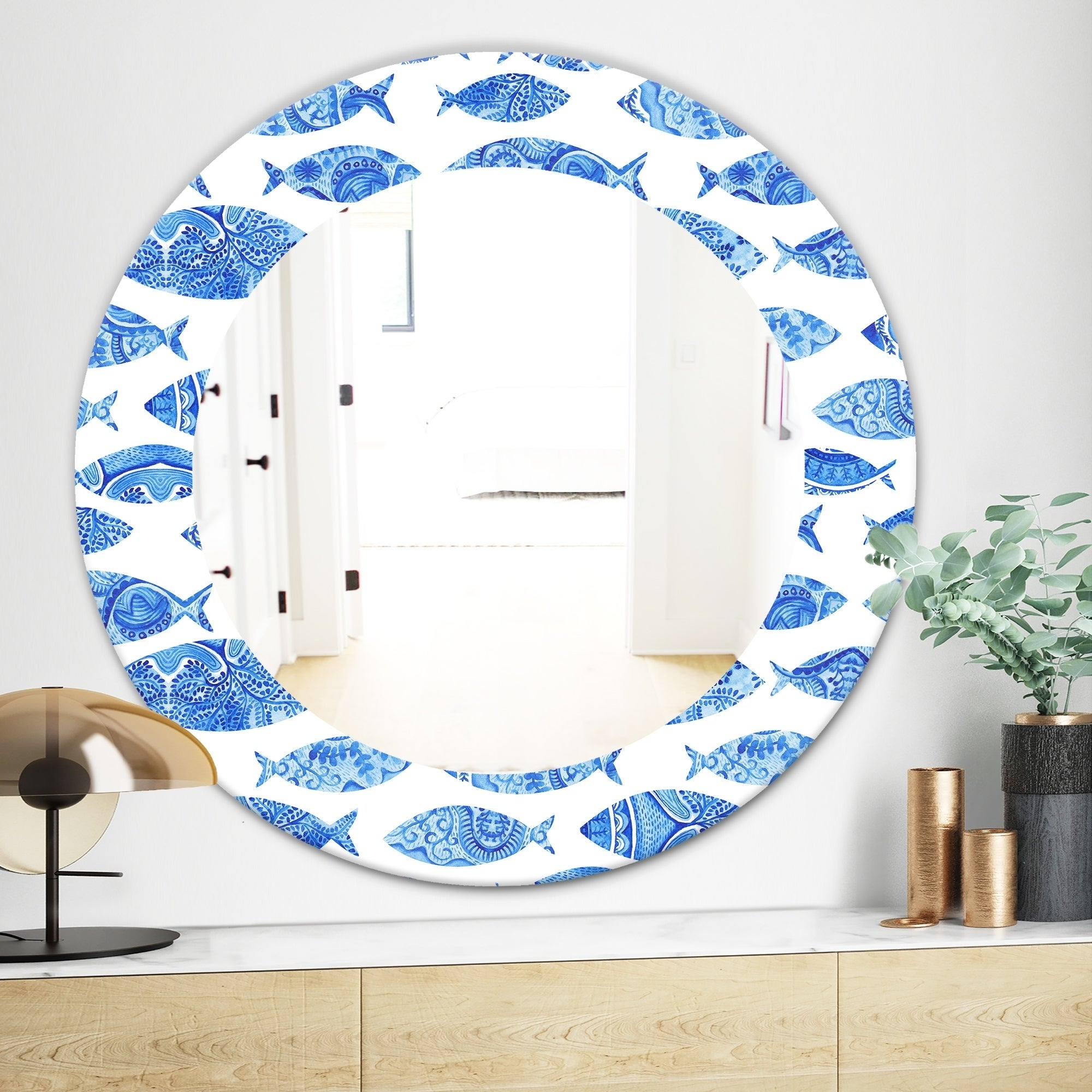 Traditional/coastal Accent Mirrors Throughout Well Known Designart 'costal Creatures 1' Traditional Mirror – Frameless Oval Or Round Wall Mirror – Blue (View 16 of 20)