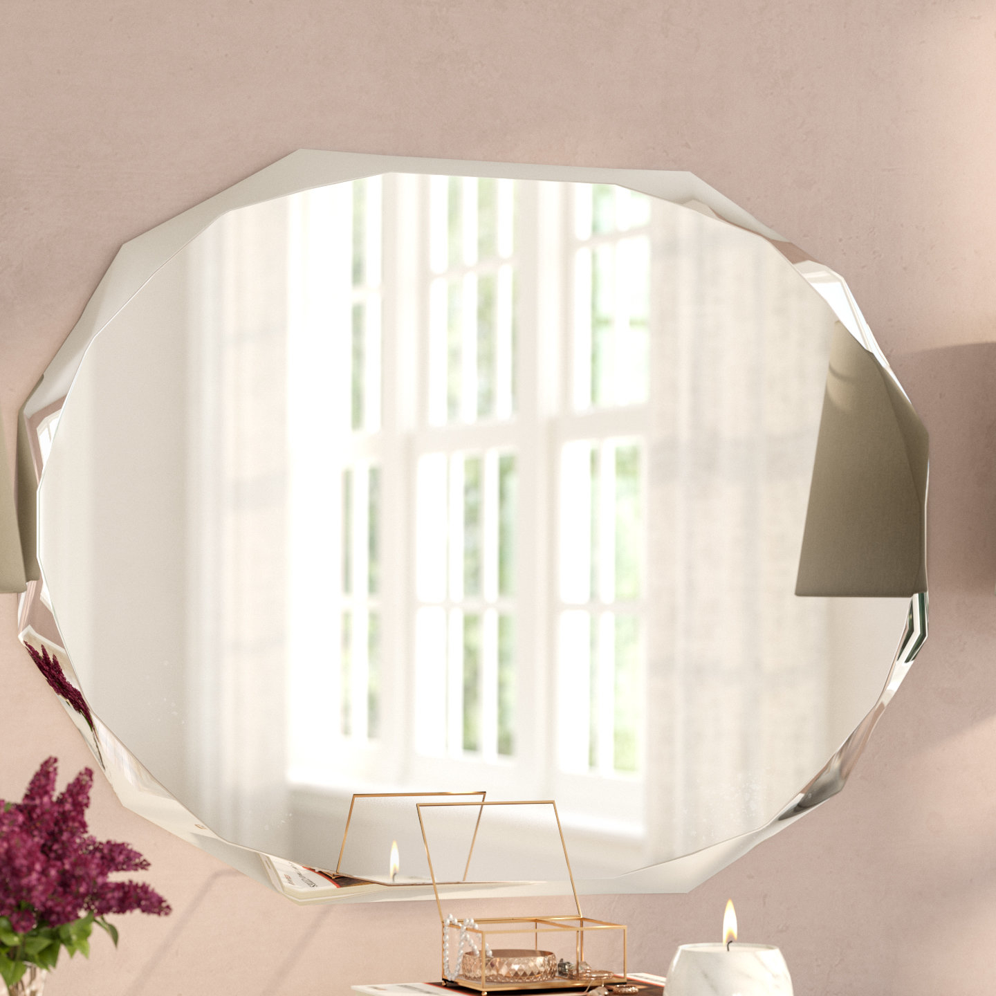 Featured Photo of Traditional Frameless Diamond Wall Mirrors