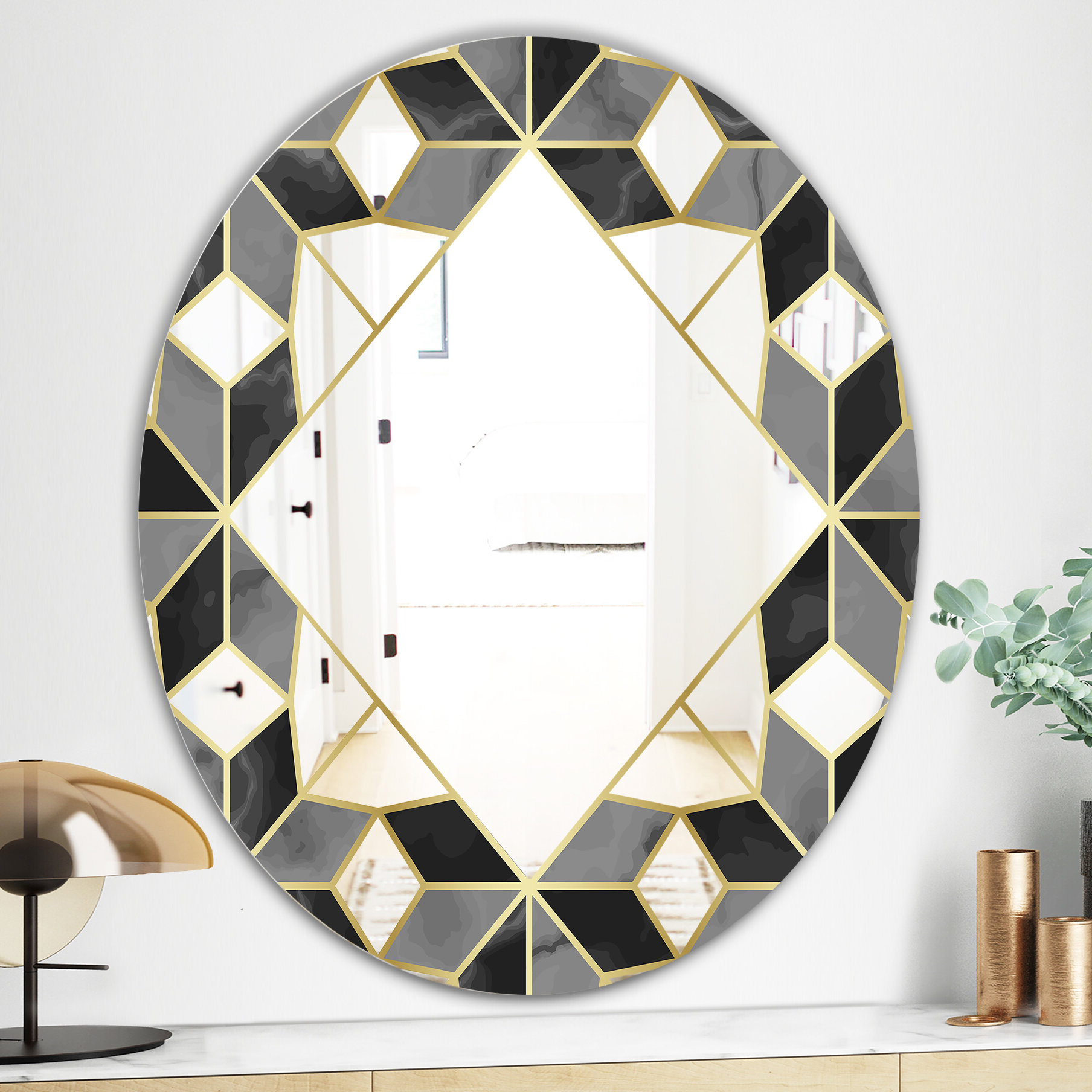 Traditional Frameless Diamond Wall Mirrors For Best And Newest Triangular Diamond Universe 2 Mid Century Frameless Bathroom/vanity Mirror (View 10 of 20)