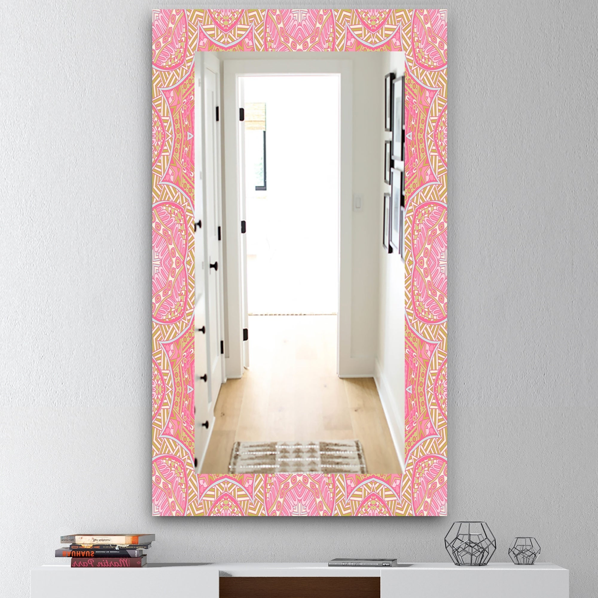 Traditional Frameless Diamond Wall Mirrors In Latest Designart 'pink Spheres 4' Bohemian And Eclectic Frameless Modern Wall  Mirror (View 11 of 20)