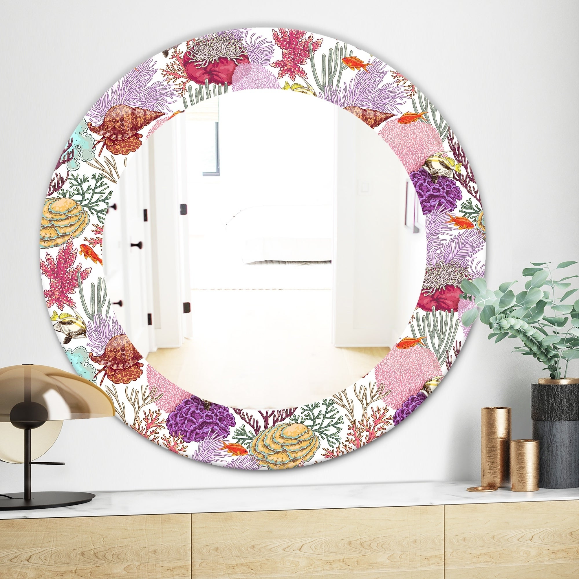Traditional Frameless Diamond Wall Mirrors In Preferred Designart 'costal Creatures 8' Traditional Mirror – Frameless Oval Or Round  Wall Mirror – Pink (View 12 of 20)