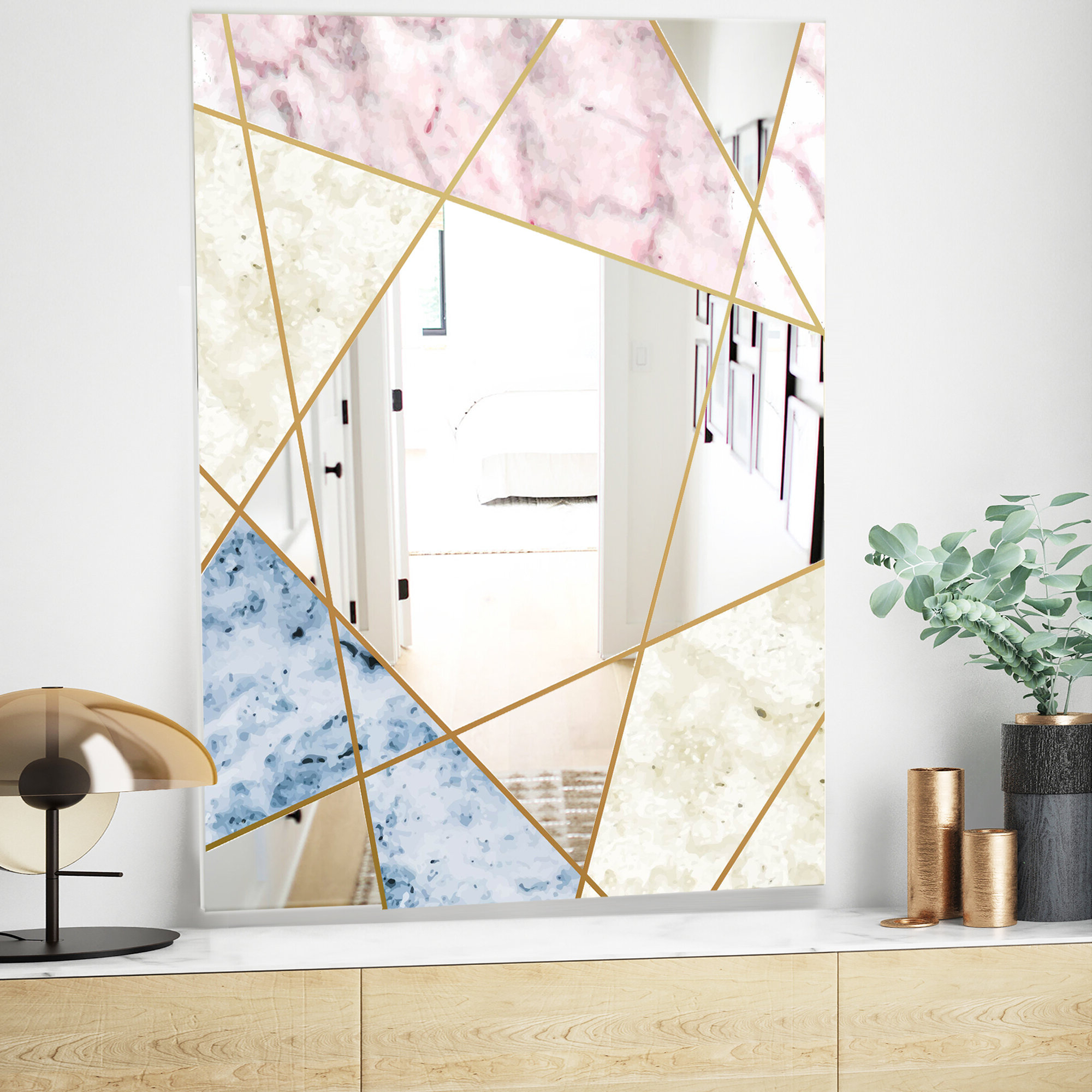 Traditional Frameless Diamond Wall Mirrors Regarding Favorite Marbled Diamond Mid Century Modern Frameless Accent Mirror (View 13 of 20)