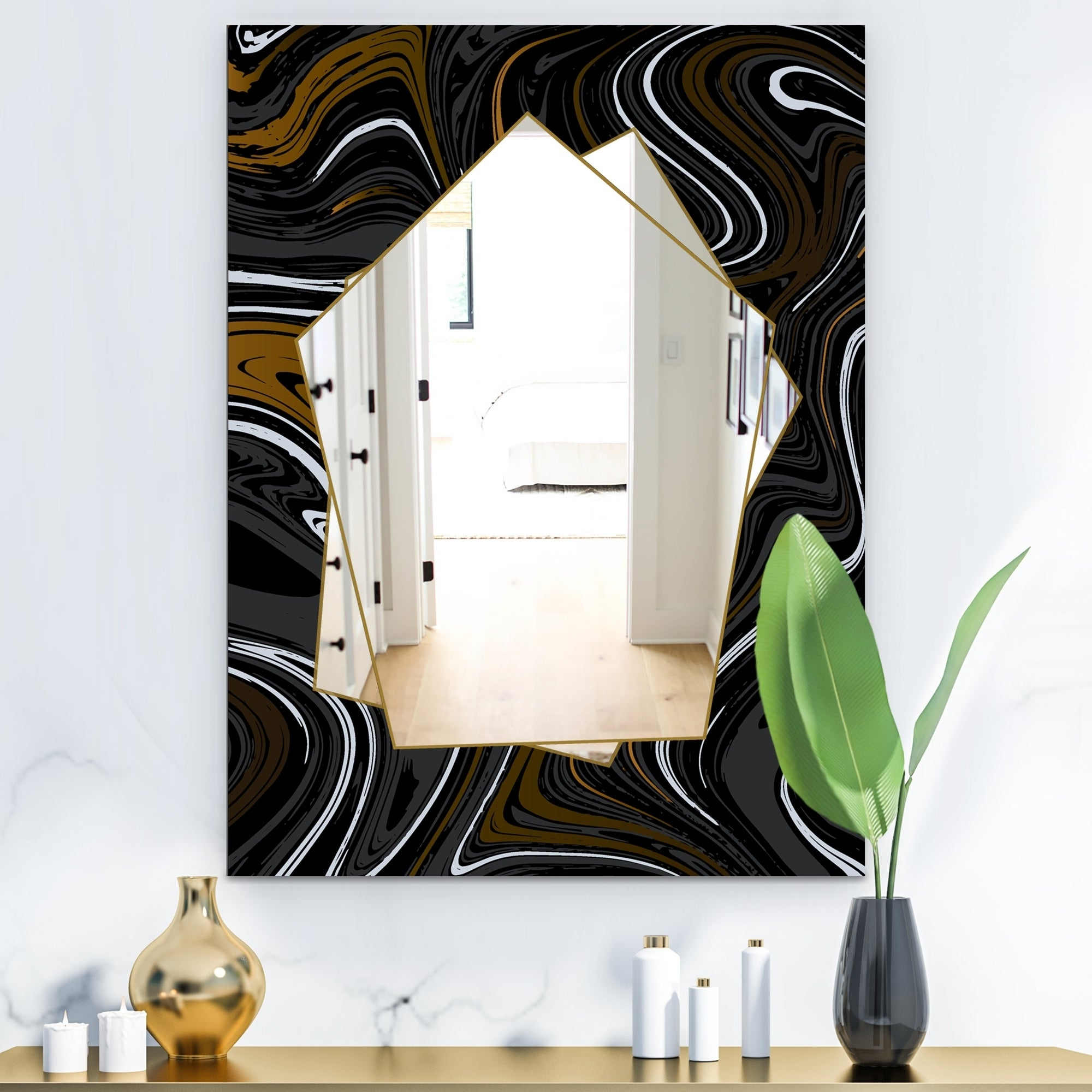 Traditional Frameless Diamond Wall Mirrors Throughout Current Designart 'marbled Diamond 9' Farmhouse Mirror – Large Wall Mirror – Black (View 14 of 20)