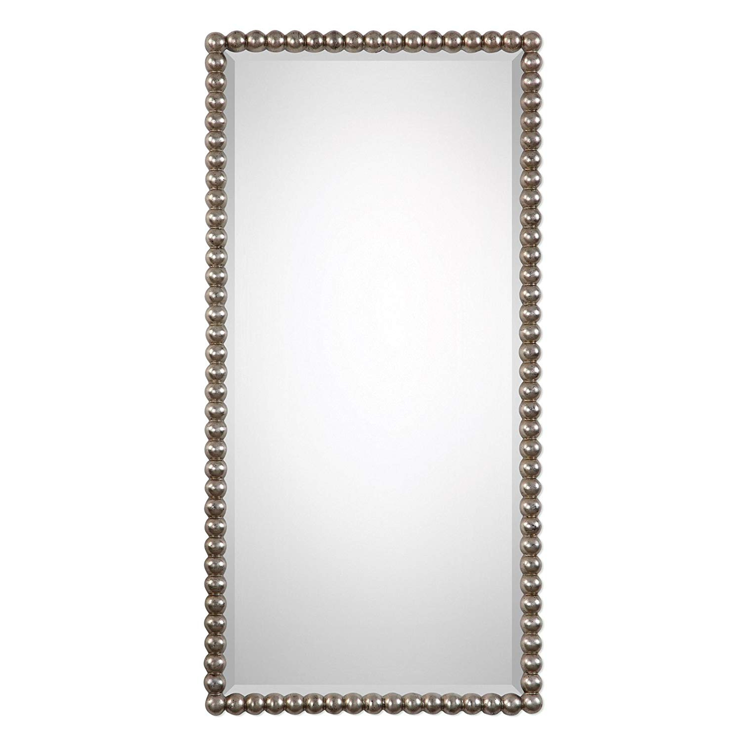 Traditional Frameless Diamond Wall Mirrors Within Most Current Amazon: My Swanky Home Beaded Silver Champagne Wall Mirror (View 15 of 20)