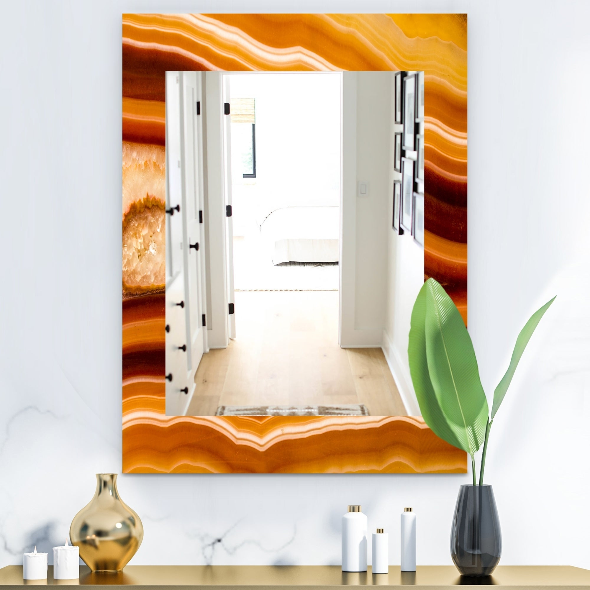 Traditional Frameless Diamond Wall Mirrors Within Well Liked Designart 'marbled Geode 1' Traditional Mirror – Frameless Wall Mirror –  Brown (View 16 of 20)