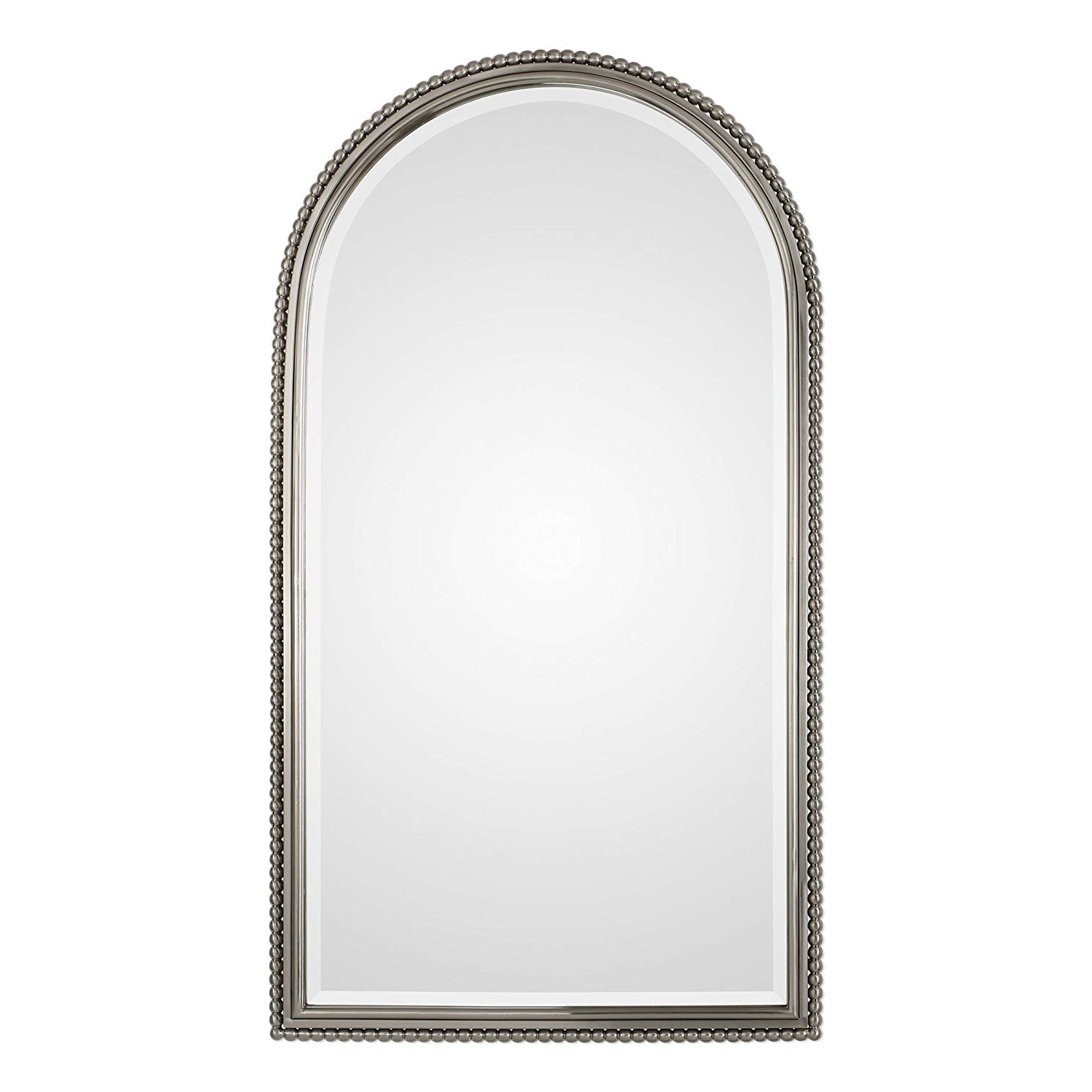 Traditional Metal Wall Mirrors Regarding Most Recent Amazon: My Swanky Home Luxe Beaded Silver Arch Metal Wall Mirror (View 1 of 20)