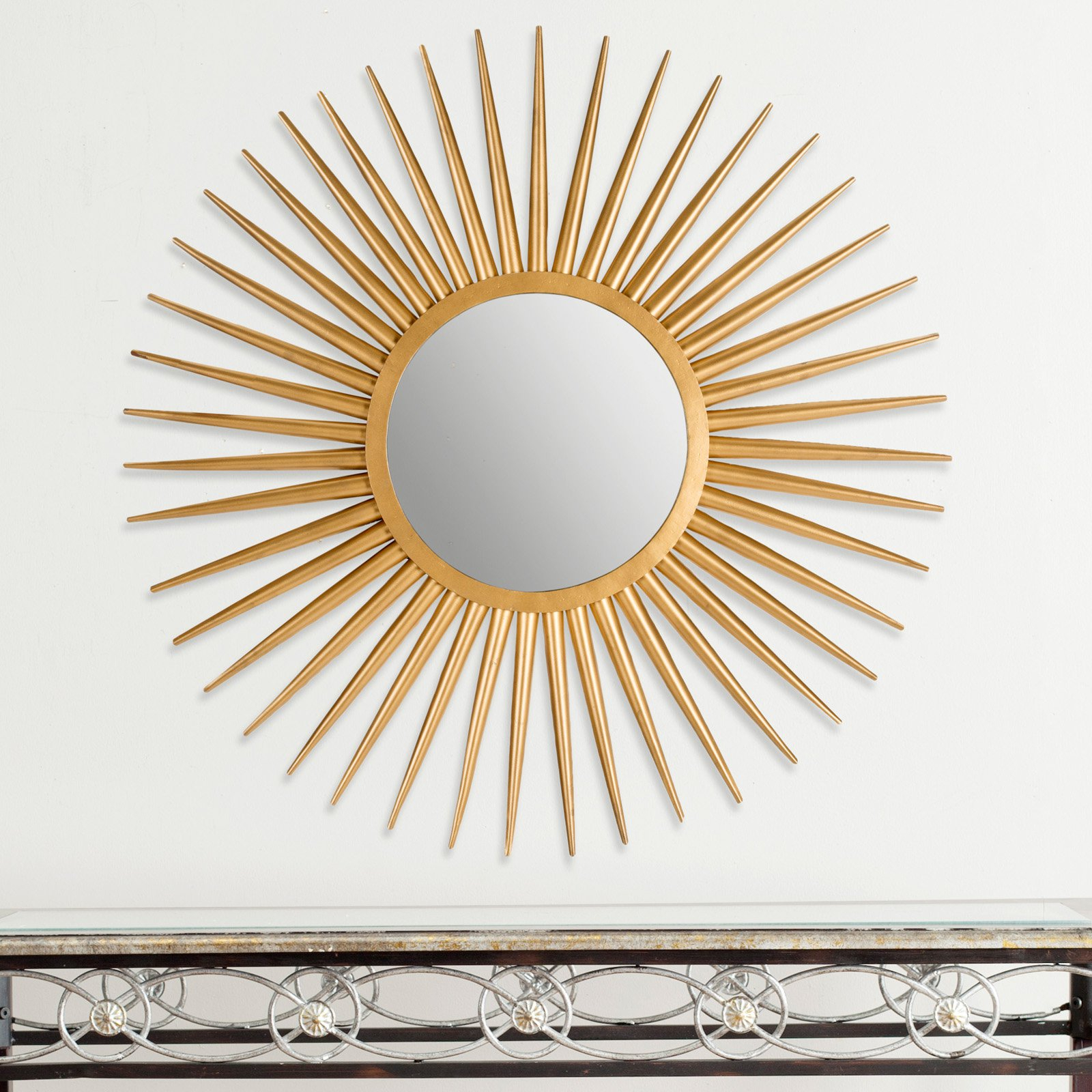 Traditional Metal Wall Mirrors Throughout Popular Safavieh Sun Flair Metal Wall Mirror – 36w X 36h In (View 15 of 20)