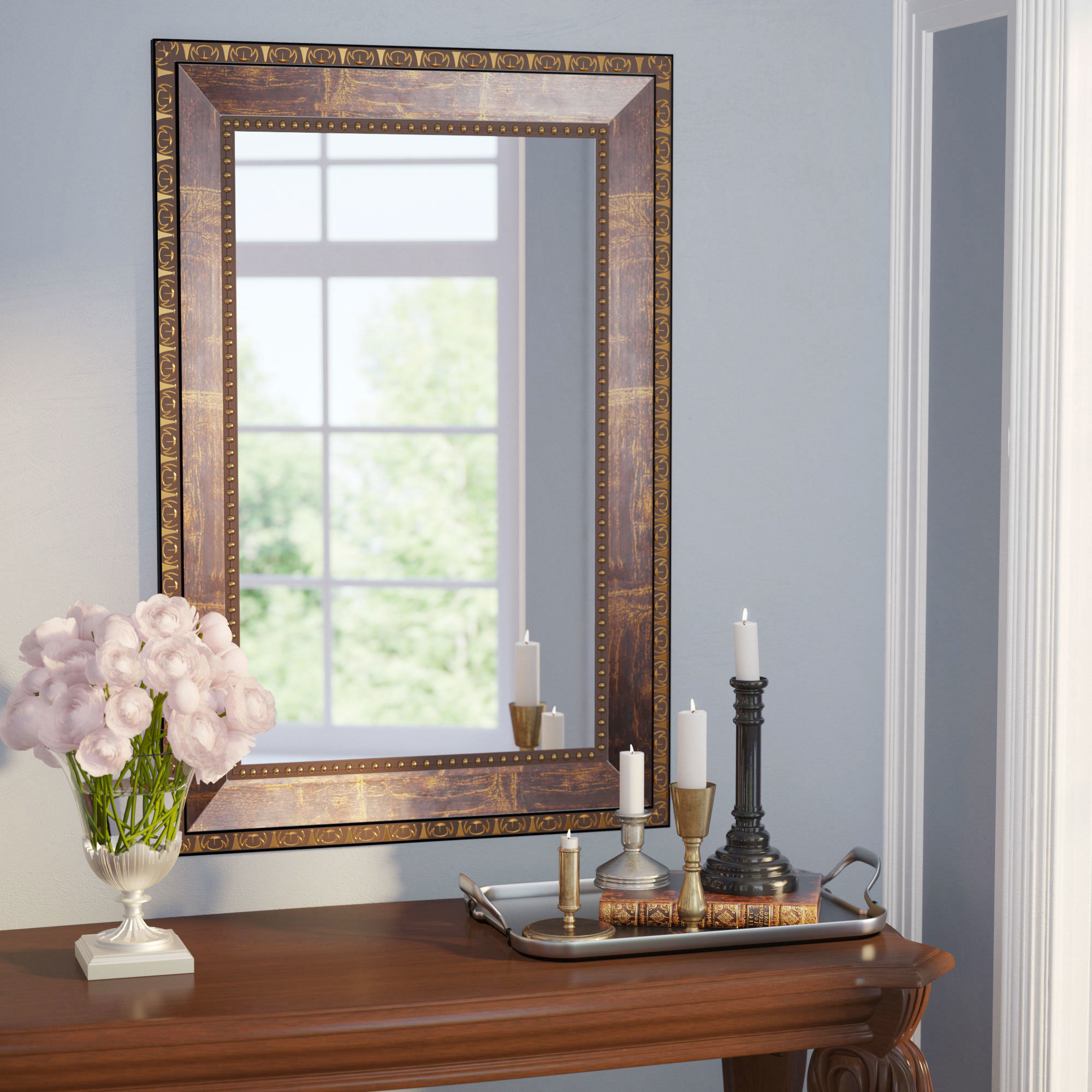 Traditional Square Copper Bronze Accent Mirror Throughout Widely Used Copper Wall Mirrors (View 12 of 20)