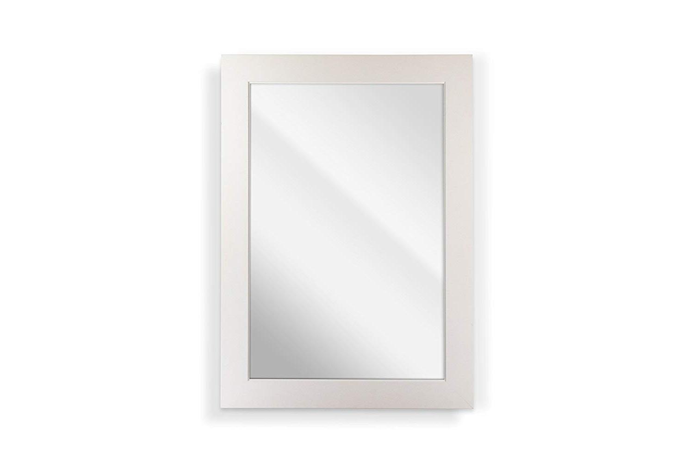 Traditional Square Glass Wall Mirrors For Popular Amazon: Raphael Rozen Matte White Square Panel W.ridge Lip (Gallery 18 of 20)