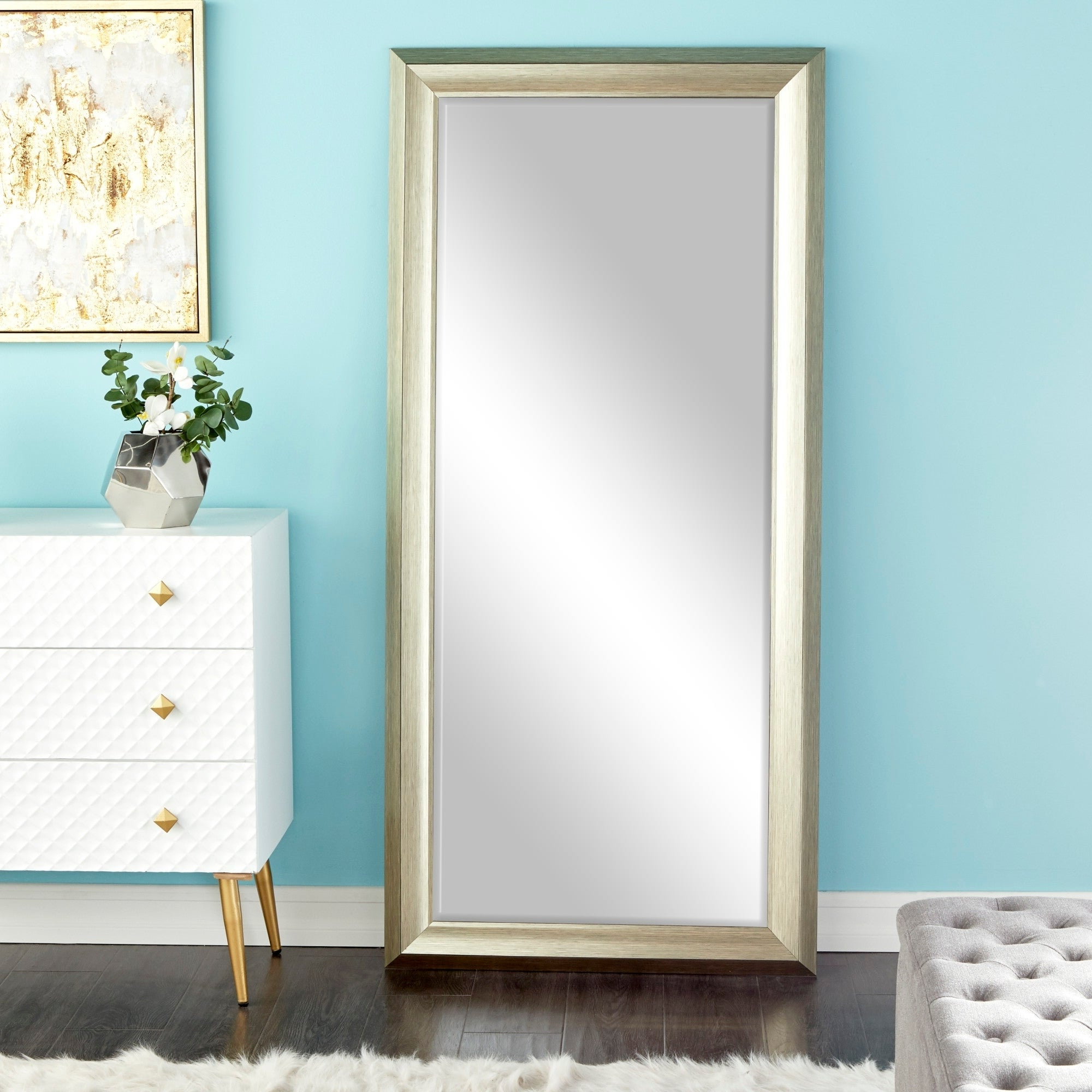 """Traditional Style Rectangular Beveled Wall Mirror 30"""" X 65"""" – White With 2019 Wall Mirrors With Drawers (View 11 of 20)"""