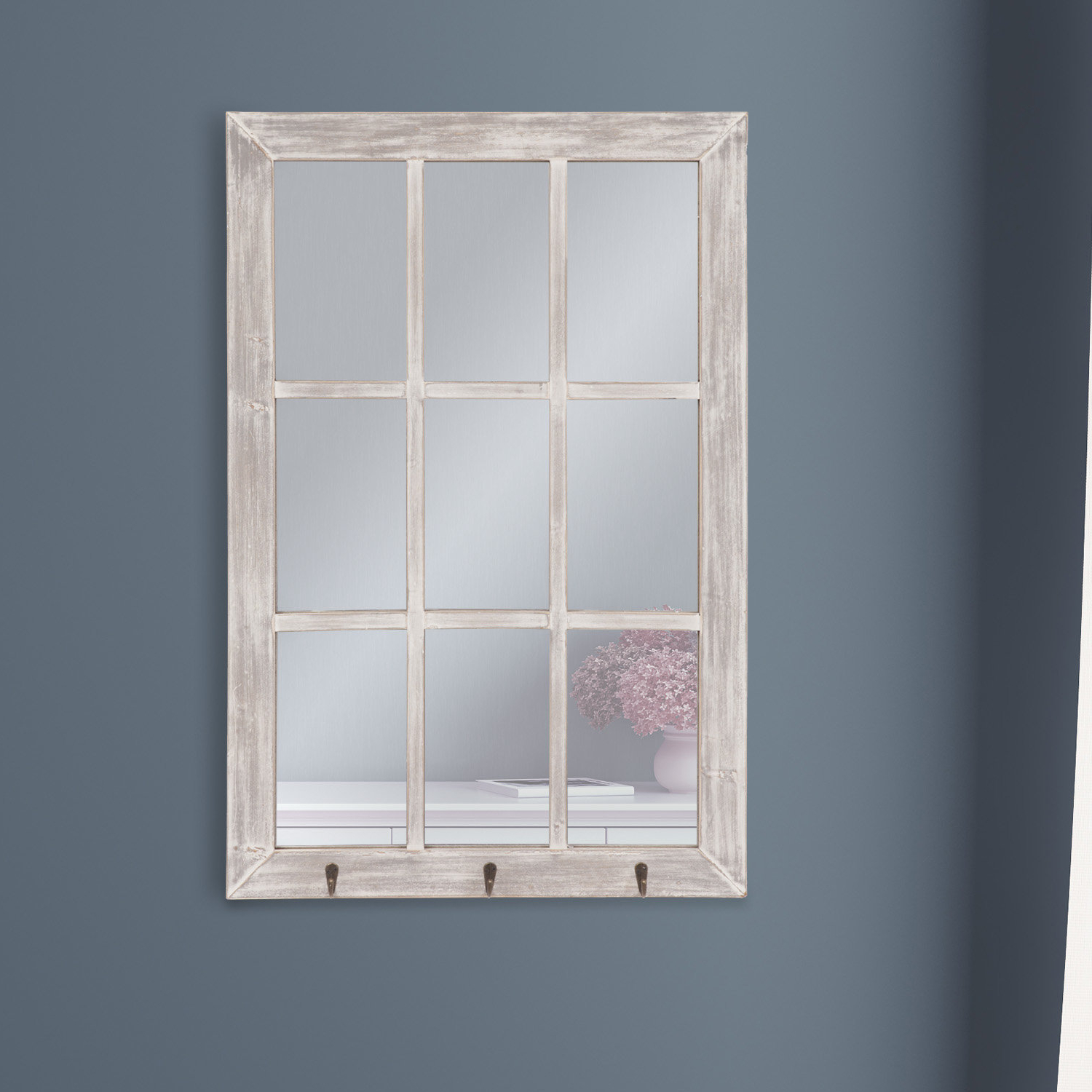 Trendy 2 Piece Kissena Window Pane Accent Mirror Sets For Lystra Distressed Rustic Accent Mirror (Gallery 11 of 20)