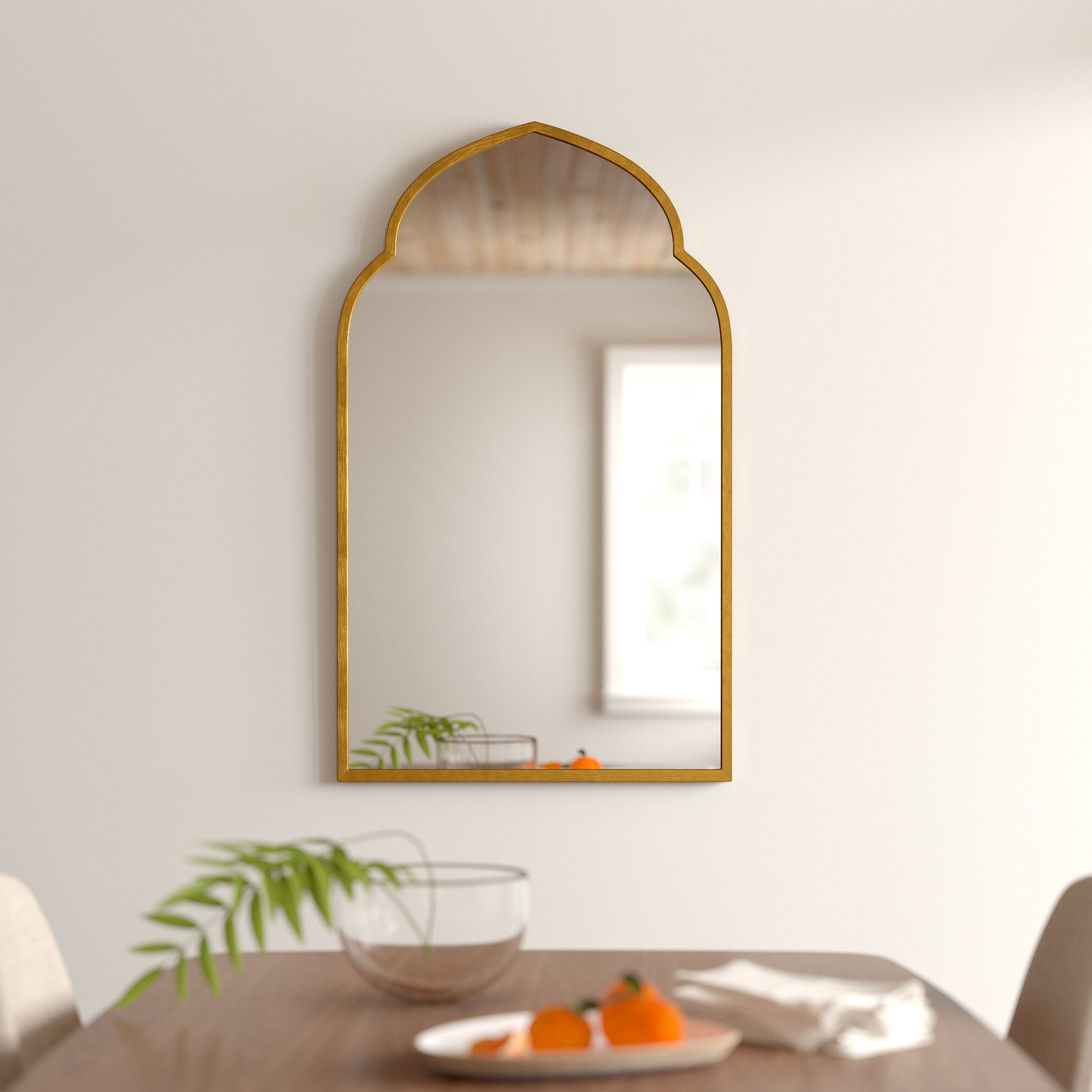 Trendy Astrid Modern & Contemporary Accent Mirrors Pertaining To Gold Arch Wall Mirror (View 13 of 20)